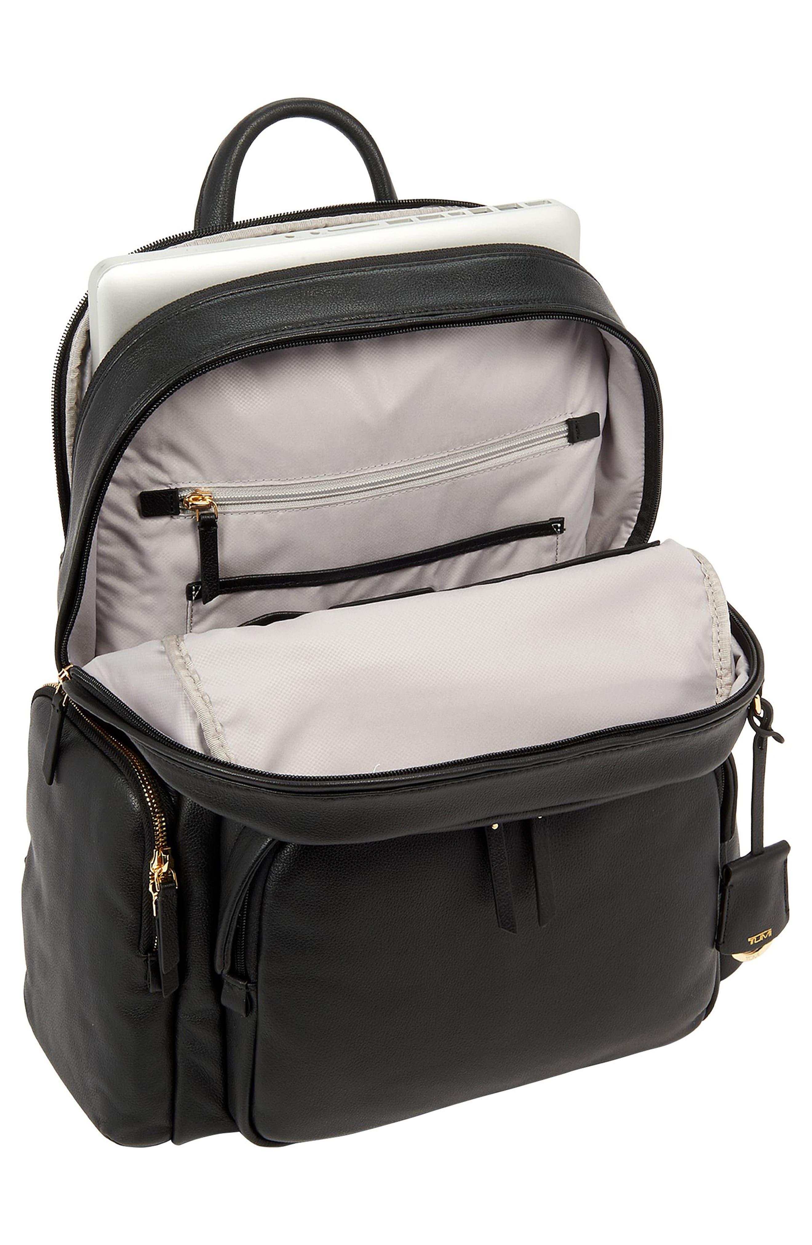 TUMI, Voyageur Carson Leather Backpack, Alternate thumbnail 4, color, BLACK