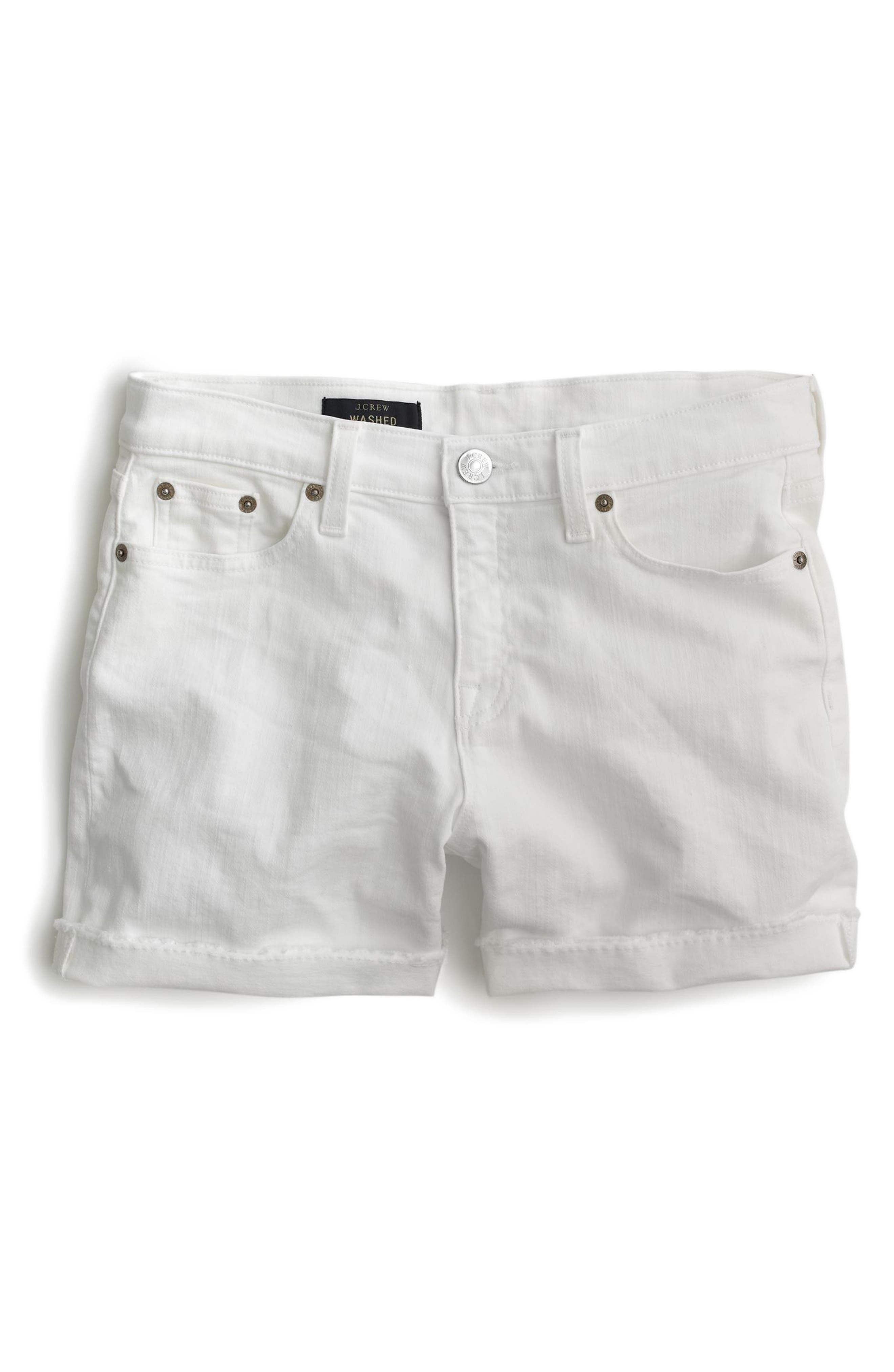 J.CREW, Midrise White Denim Shorts, Alternate thumbnail 2, color, WHITE