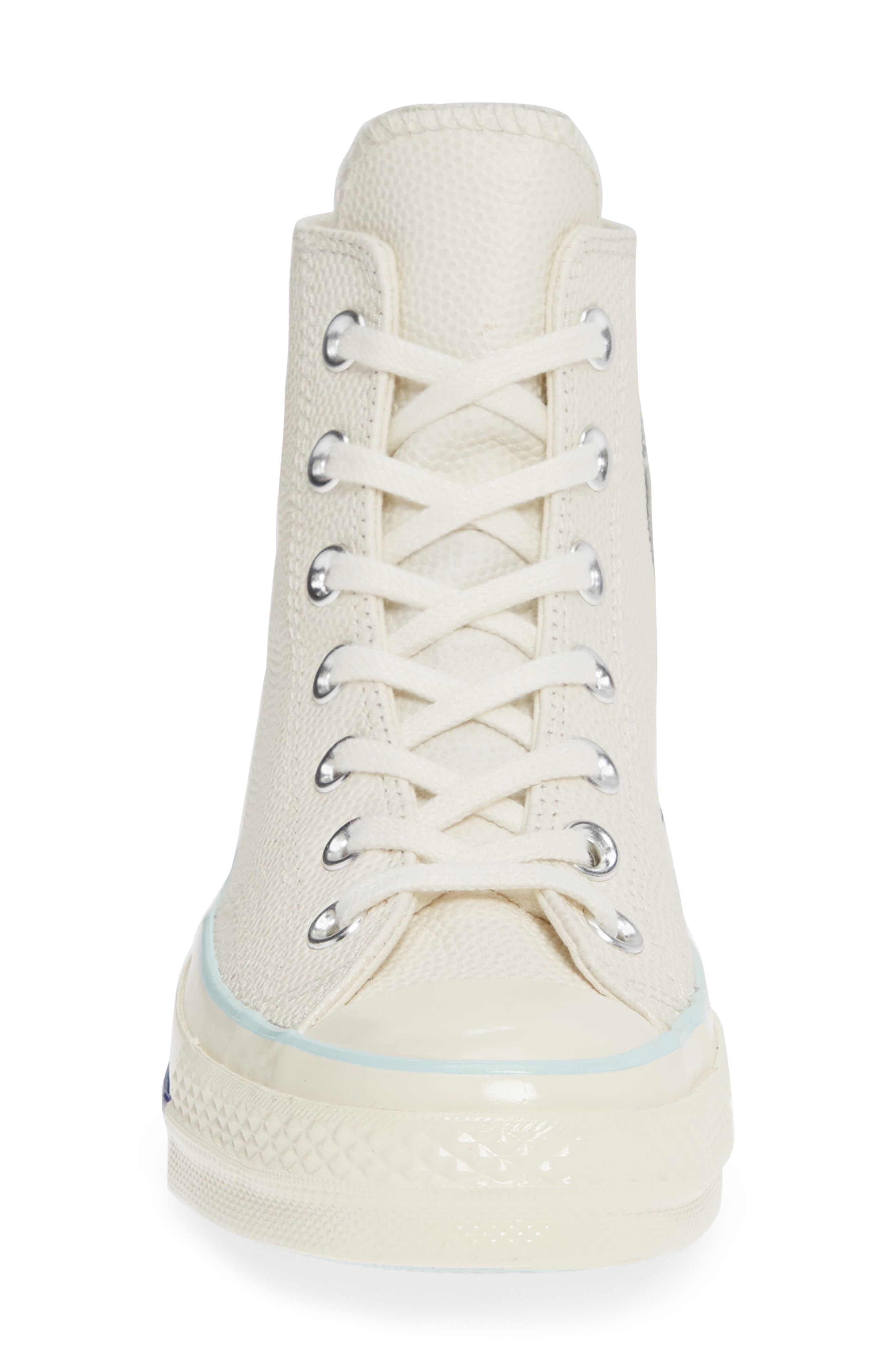 CONVERSE, Chuck Taylor<sup>®</sup> All Star<sup>®</sup> 70 High Top Leather Sneaker, Alternate thumbnail 4, color, EGRET/ TEAL TINT/ EGRET