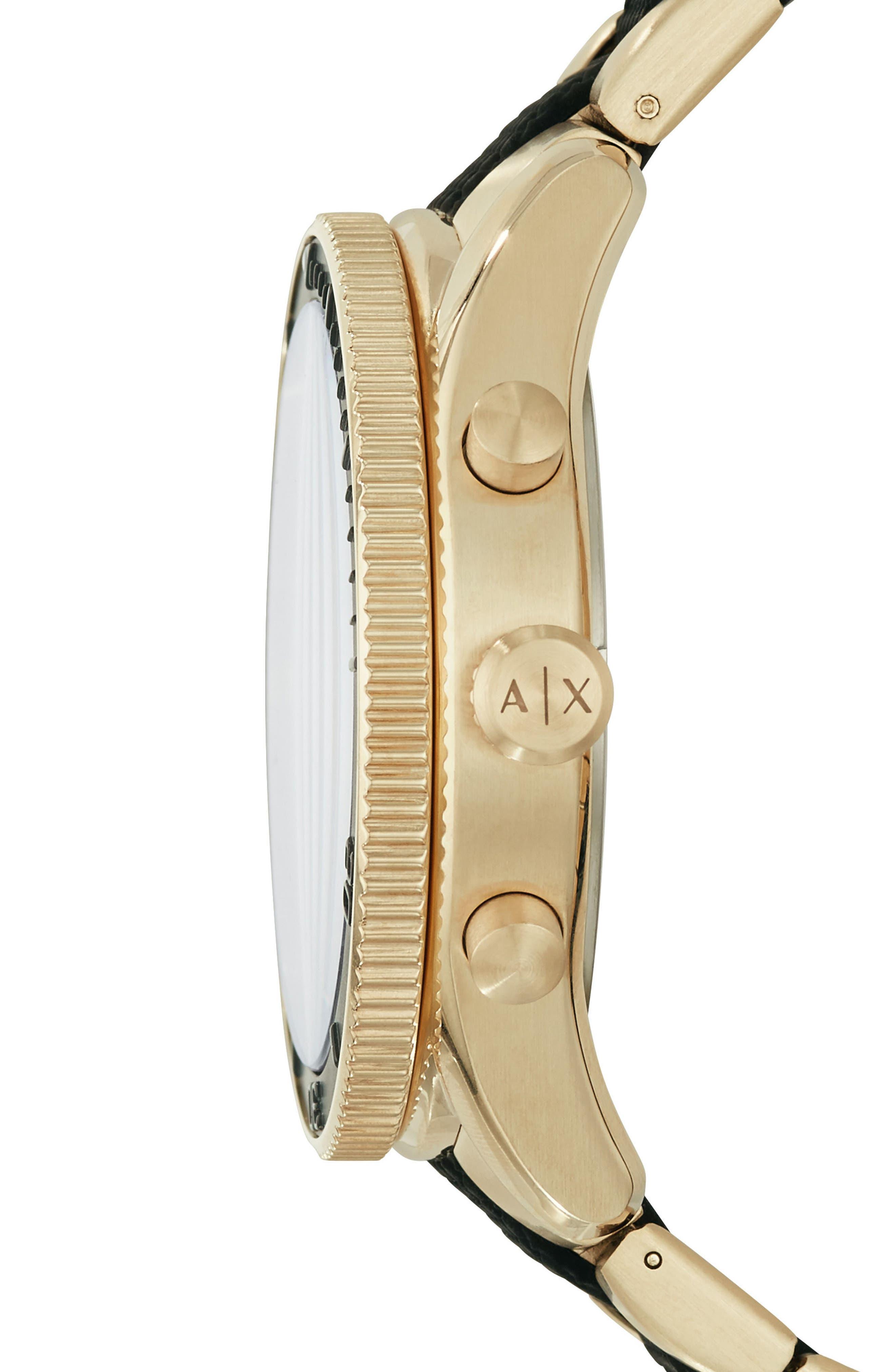 AX ARMANI EXCHANGE, Chronograph Bracelet Watch, 46mm, Alternate thumbnail 2, color, BLACK/GOLD