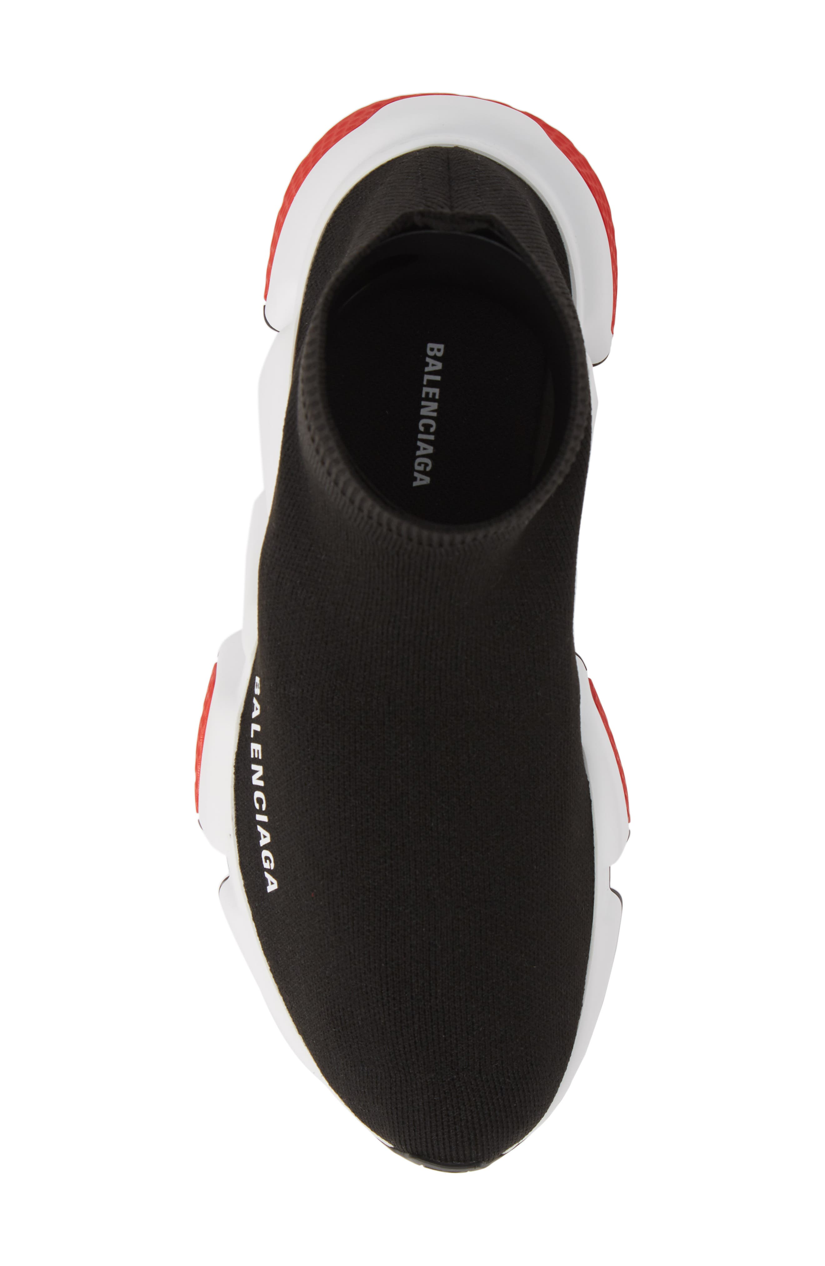 BALENCIAGA, Speed Knit Sneaker, Alternate thumbnail 5, color, BLACK/ RED