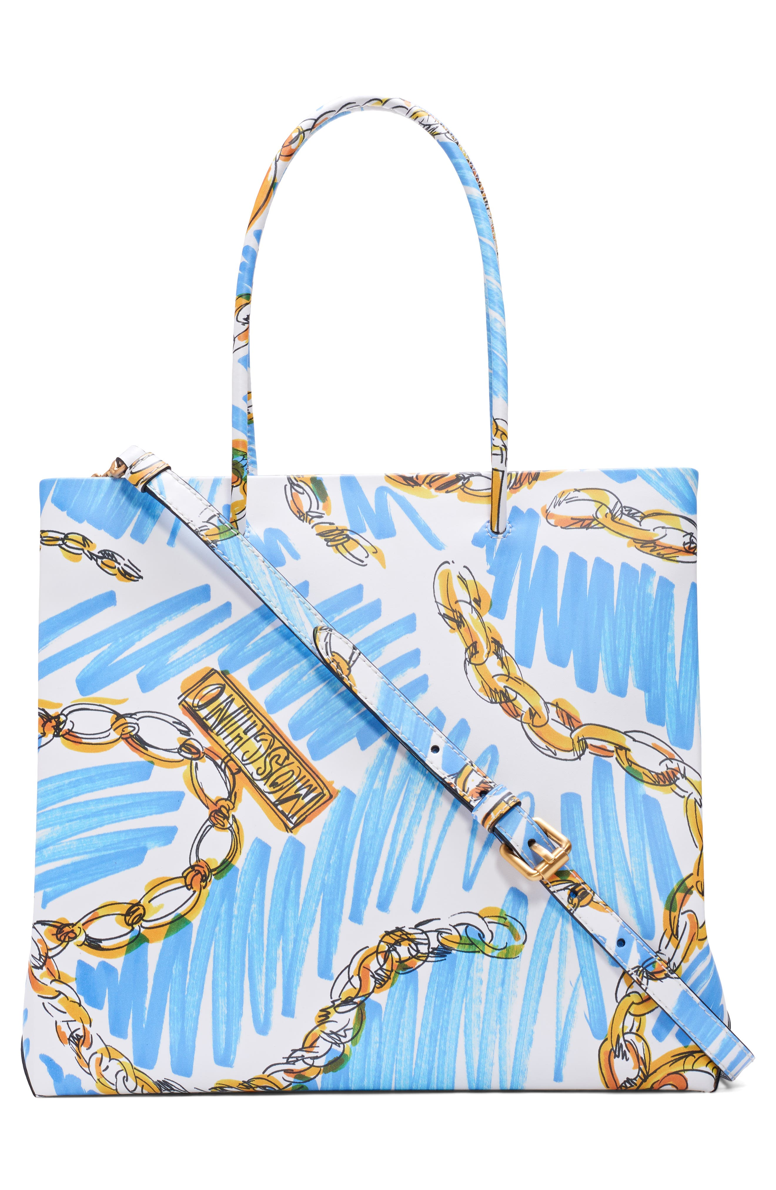 MOSCHINO, Medium Chain Scribble Tote, Alternate thumbnail 3, color, FANTASY PRINT WHITE