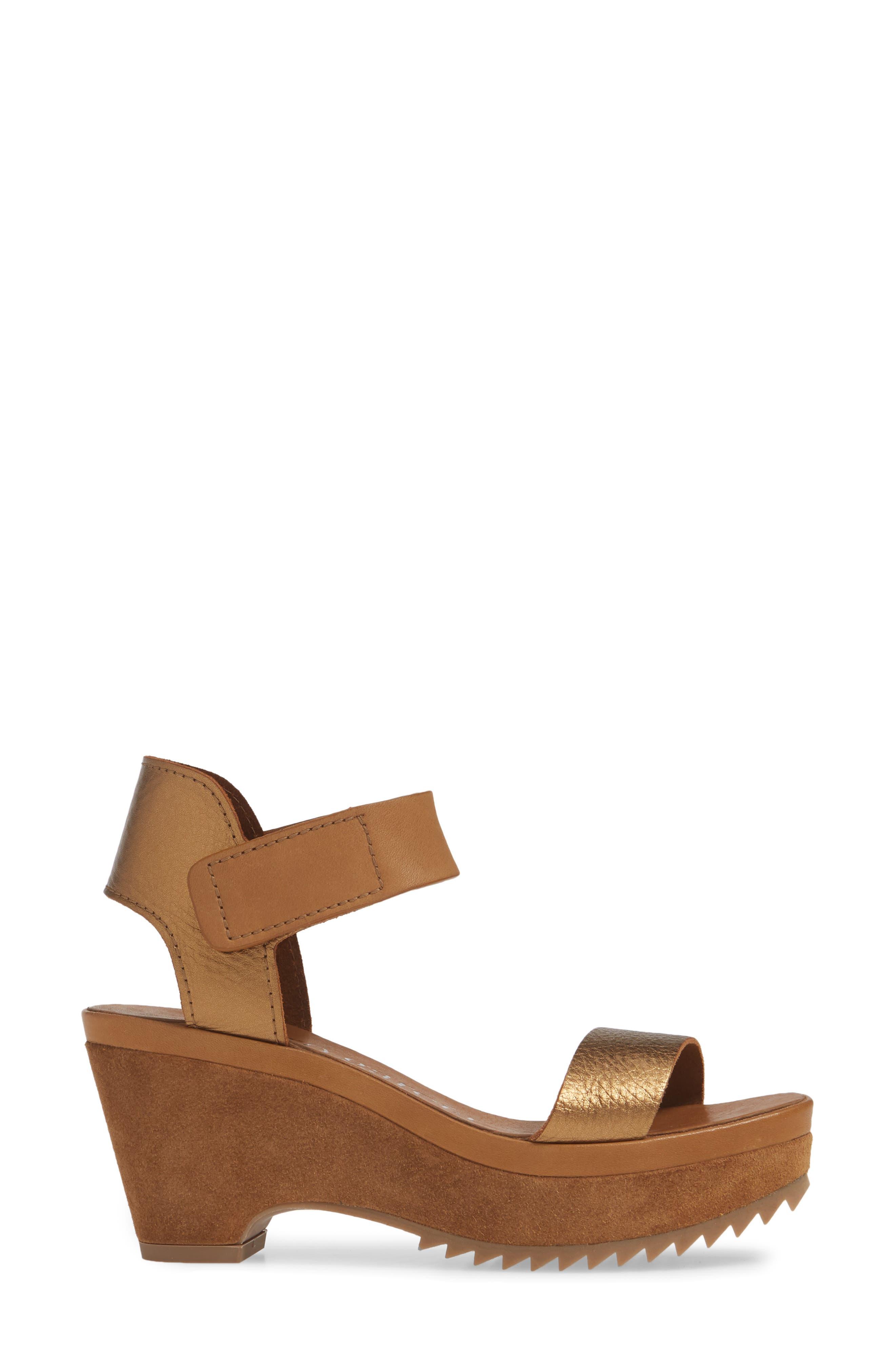 PEDRO GARCIA, Franses Flatform Sandal, Alternate thumbnail 3, color, TOBACCO CERVO LAME