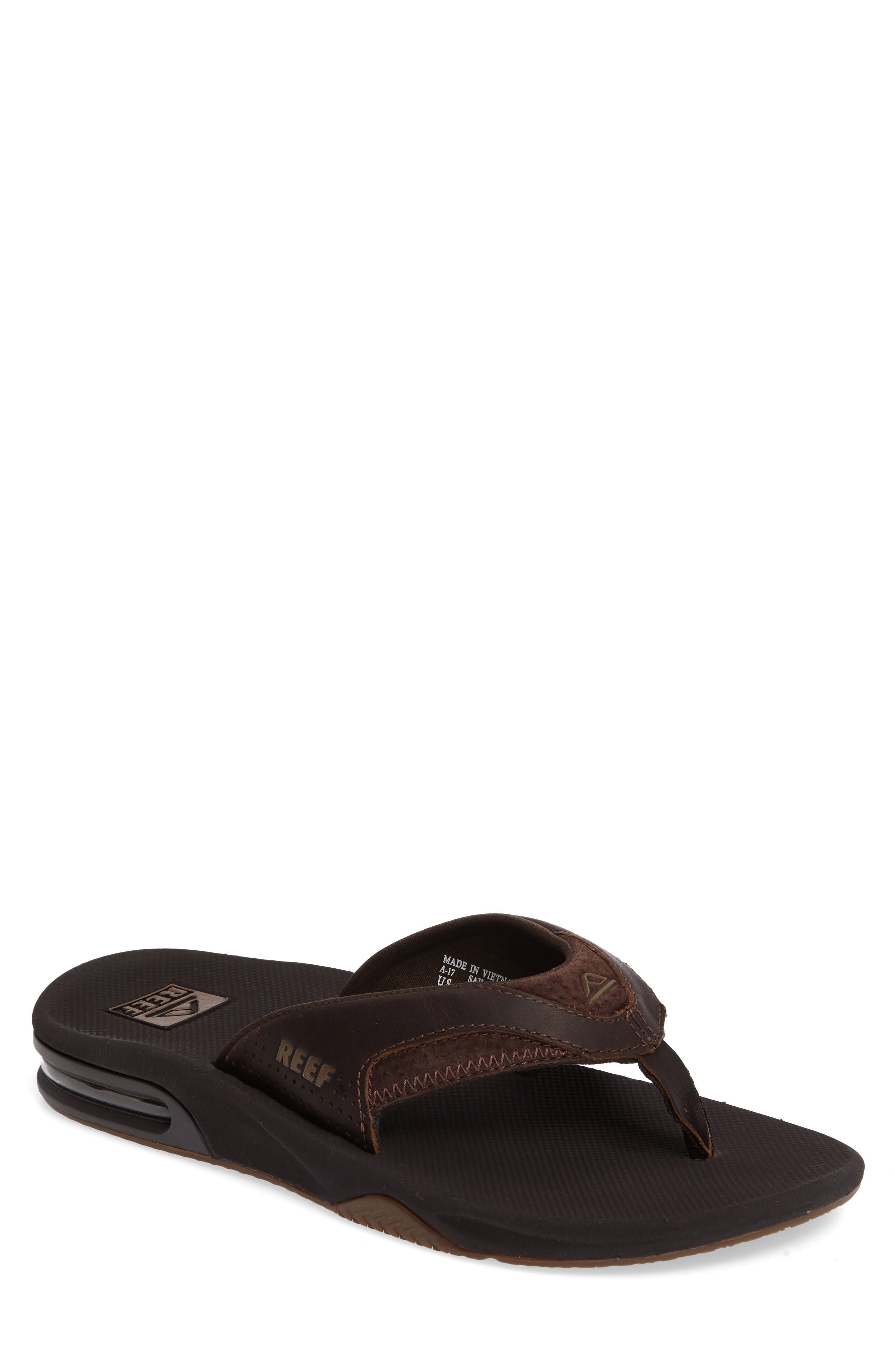 REEF, 'Fanning Leather' Flip Flop, Main thumbnail 1, color, BROWN LEATHER