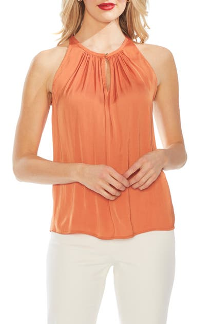 Vince Camuto Tops RUMPLED SATIN KEYHOLE TOP