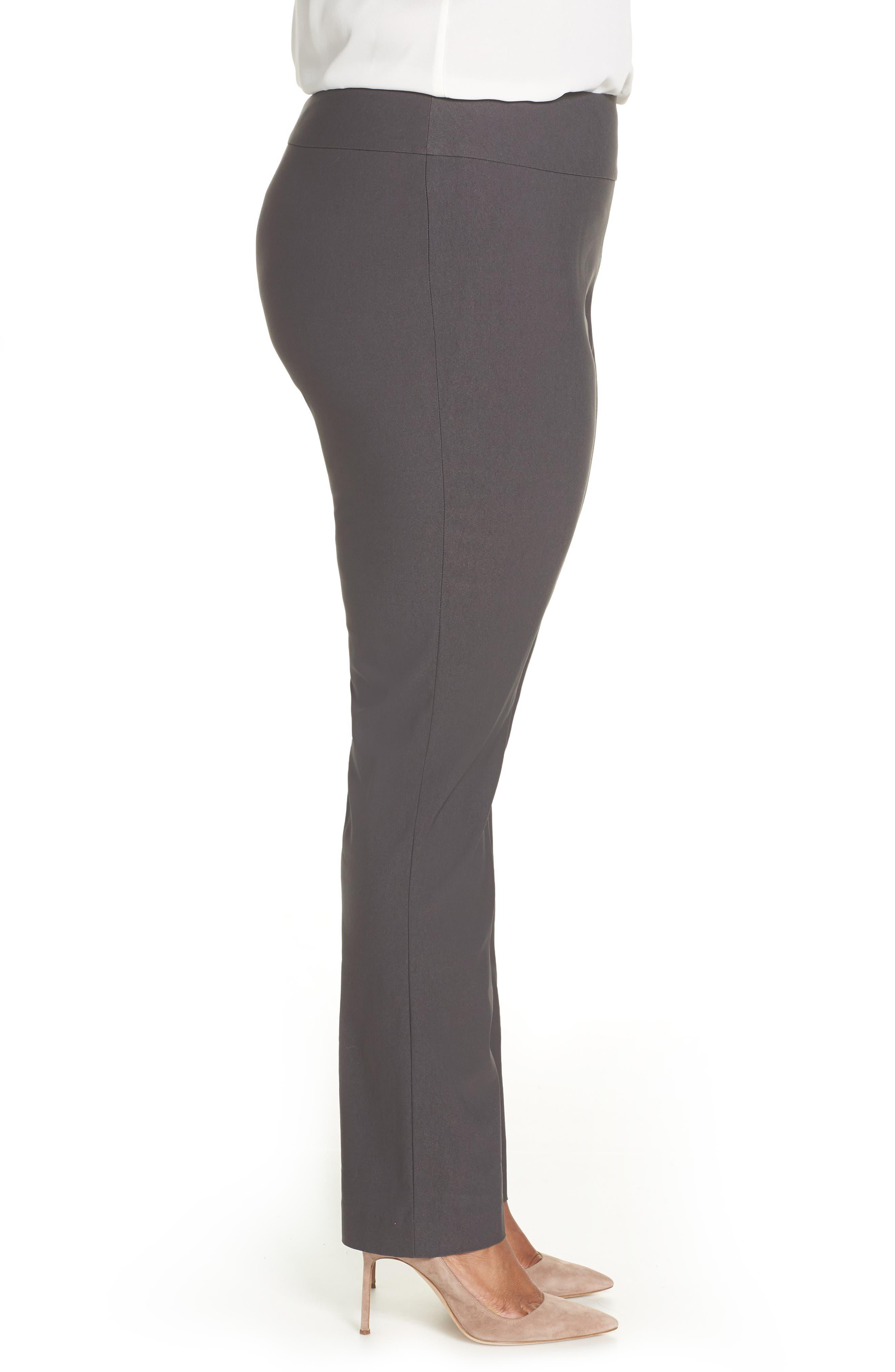NIC+ZOE, Wonderstretch High Rise Slim Leg Pants, Alternate thumbnail 3, color, GRAPHITE