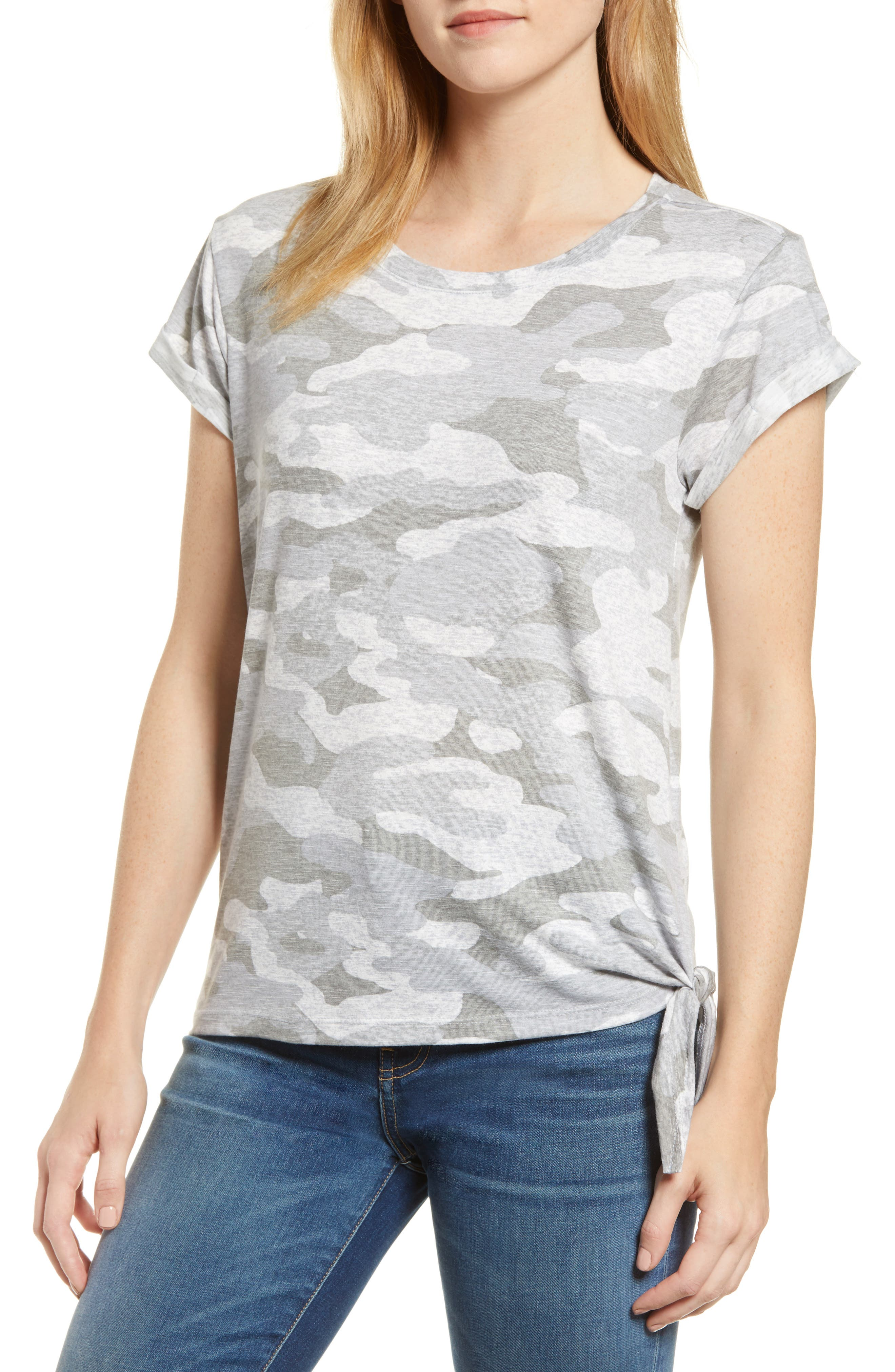 WIT & WISDOM, Tie Waist Tee, Main thumbnail 1, color, GREY