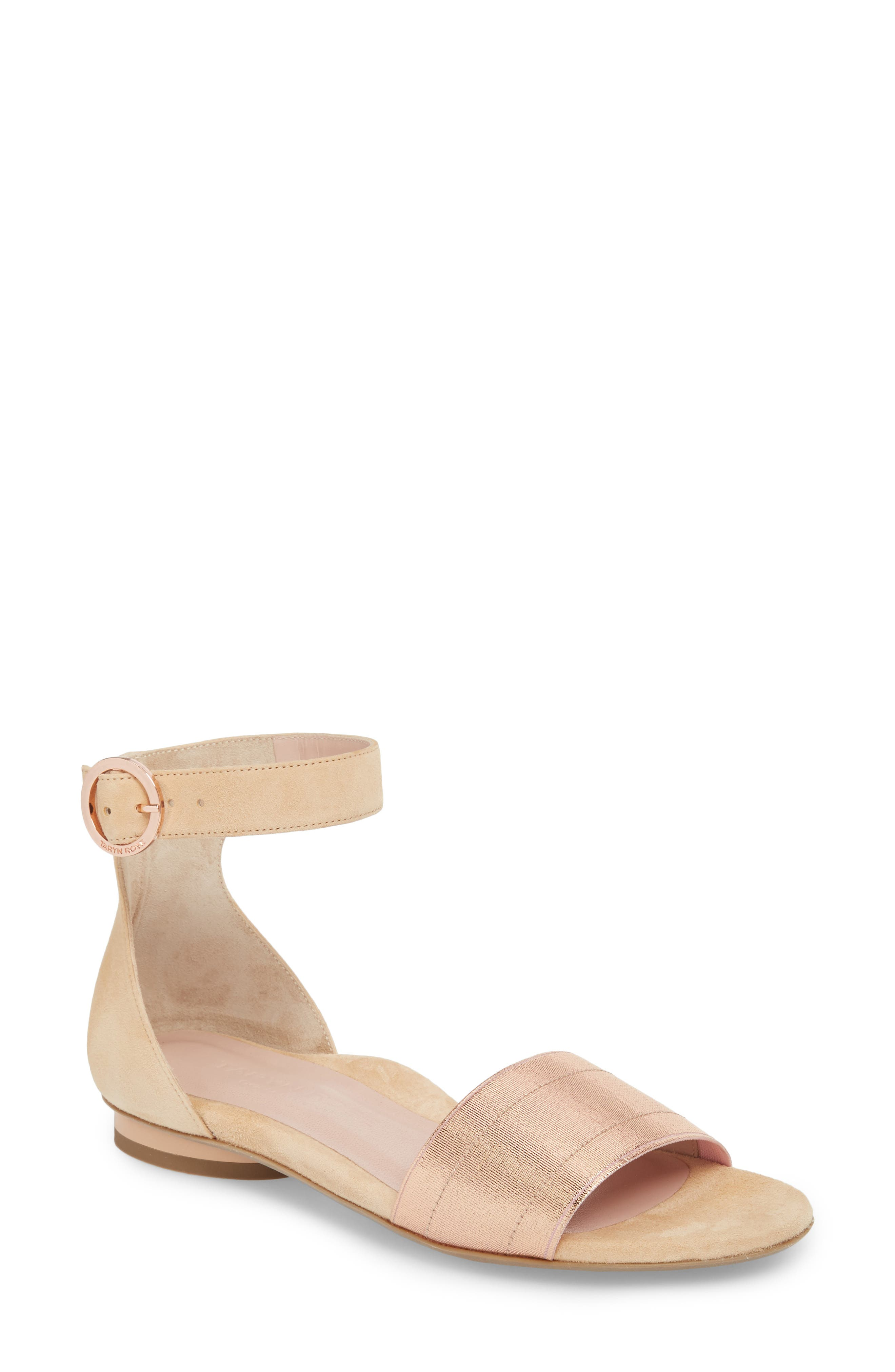 Taryn Rose Collection Donati Ankle Strap Sandal, Beige