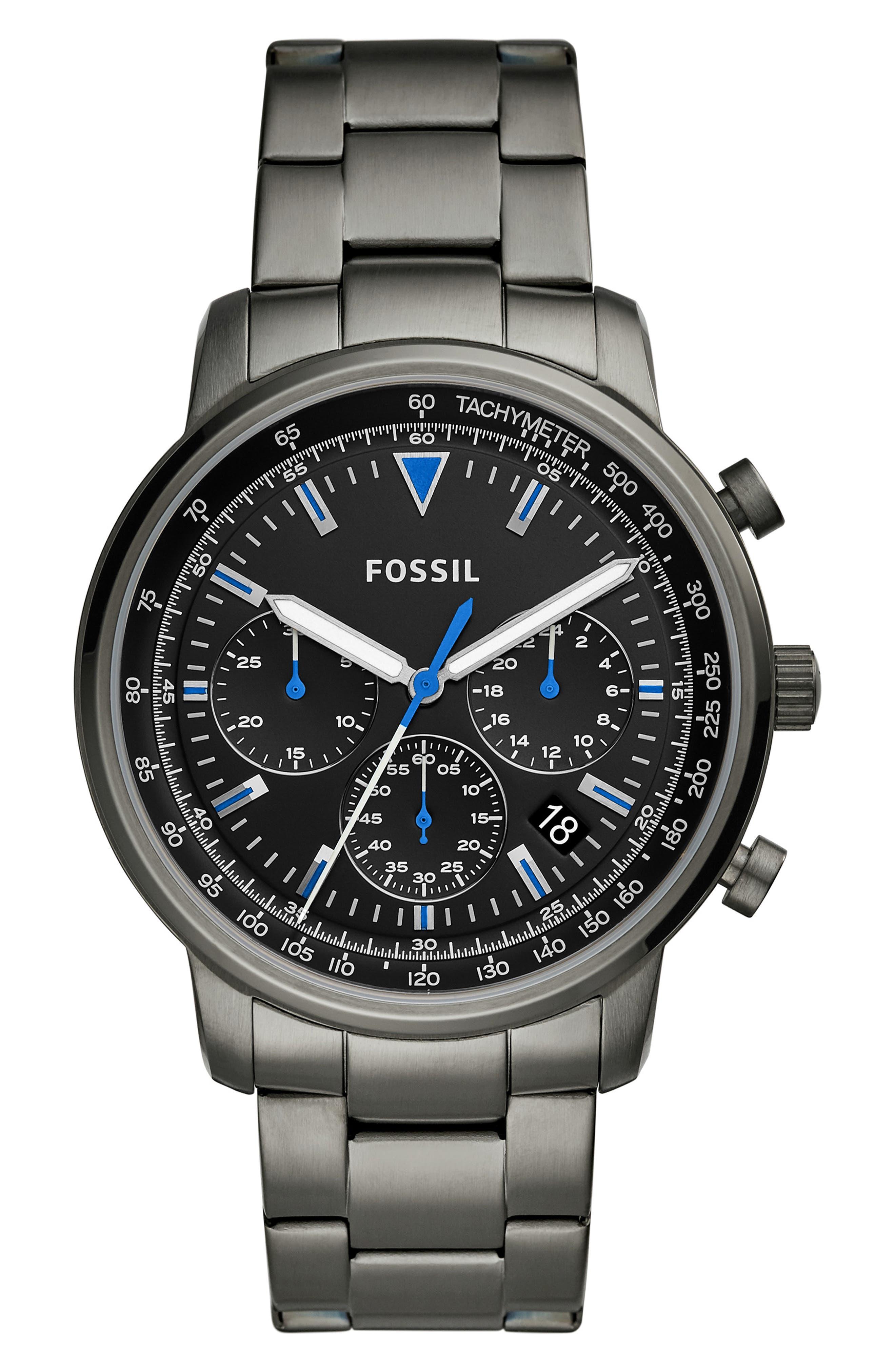 FOSSIL, Goodwin Chronometer Bracelet Watch, 44mm, Main thumbnail 1, color, 020