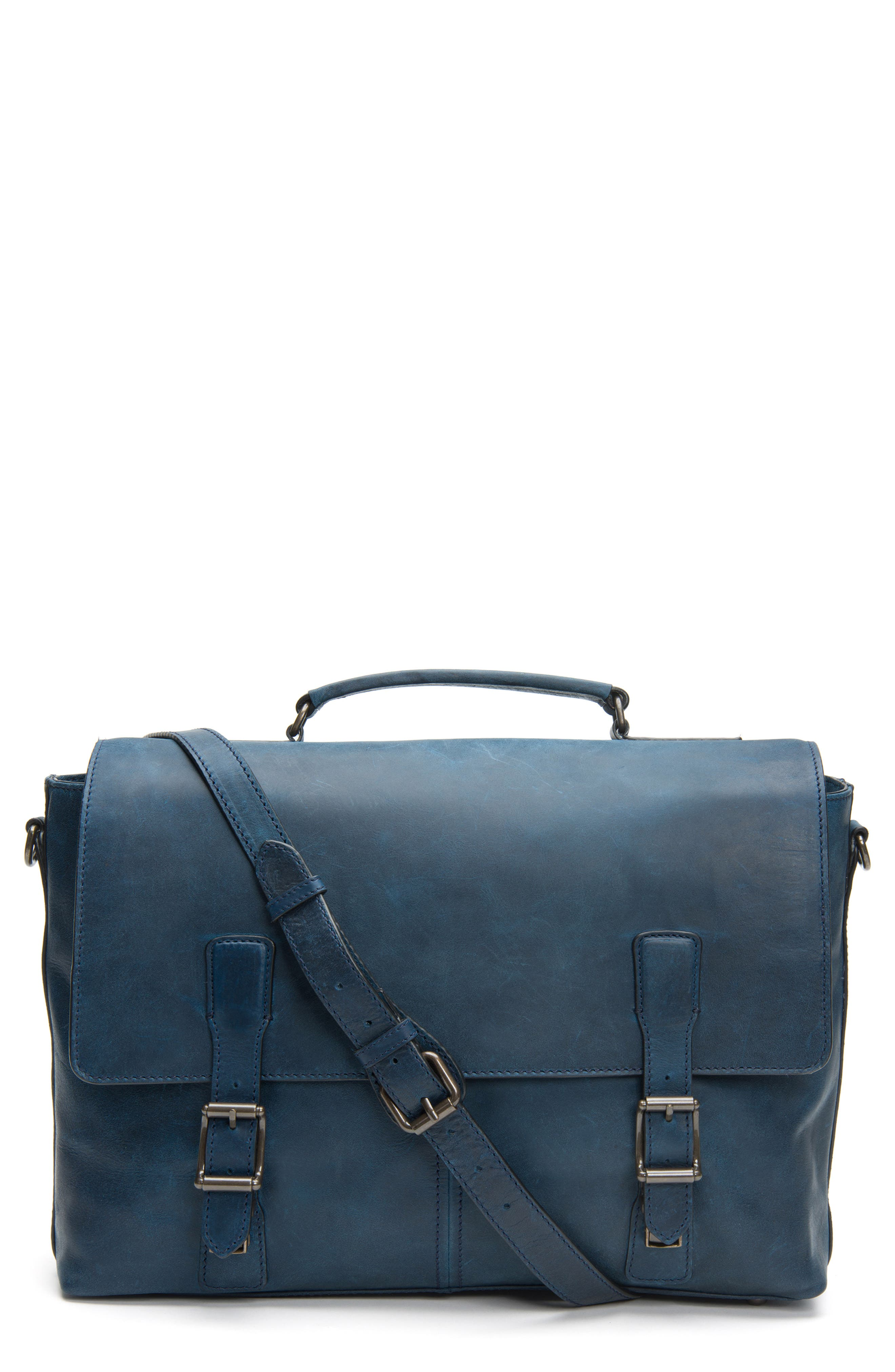 FRYE Logan Leather Briefcase, Main, color, NAVY