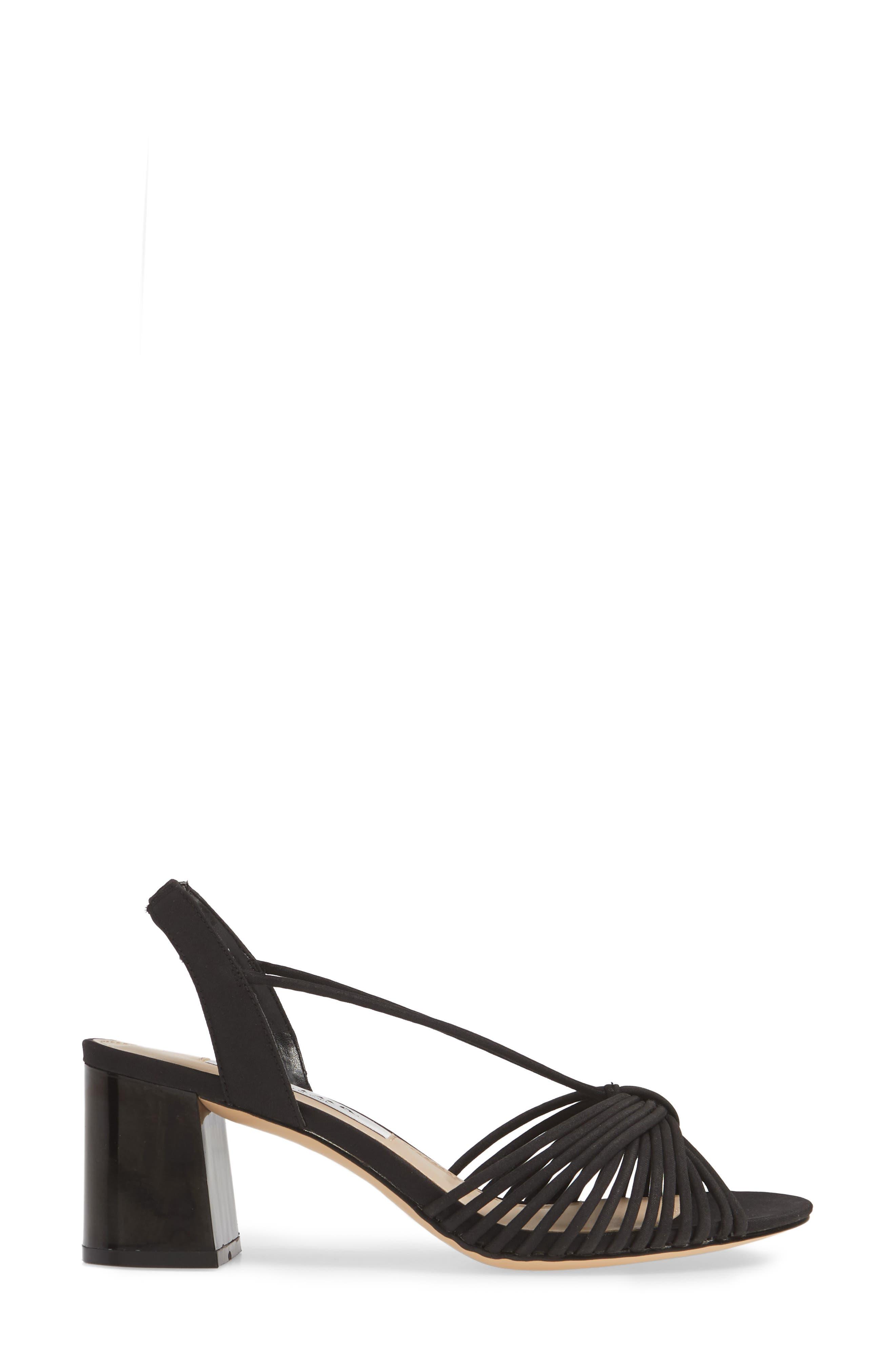 NINA, Nadelyn Strappy Sandal, Alternate thumbnail 3, color, BLACK FABRIC