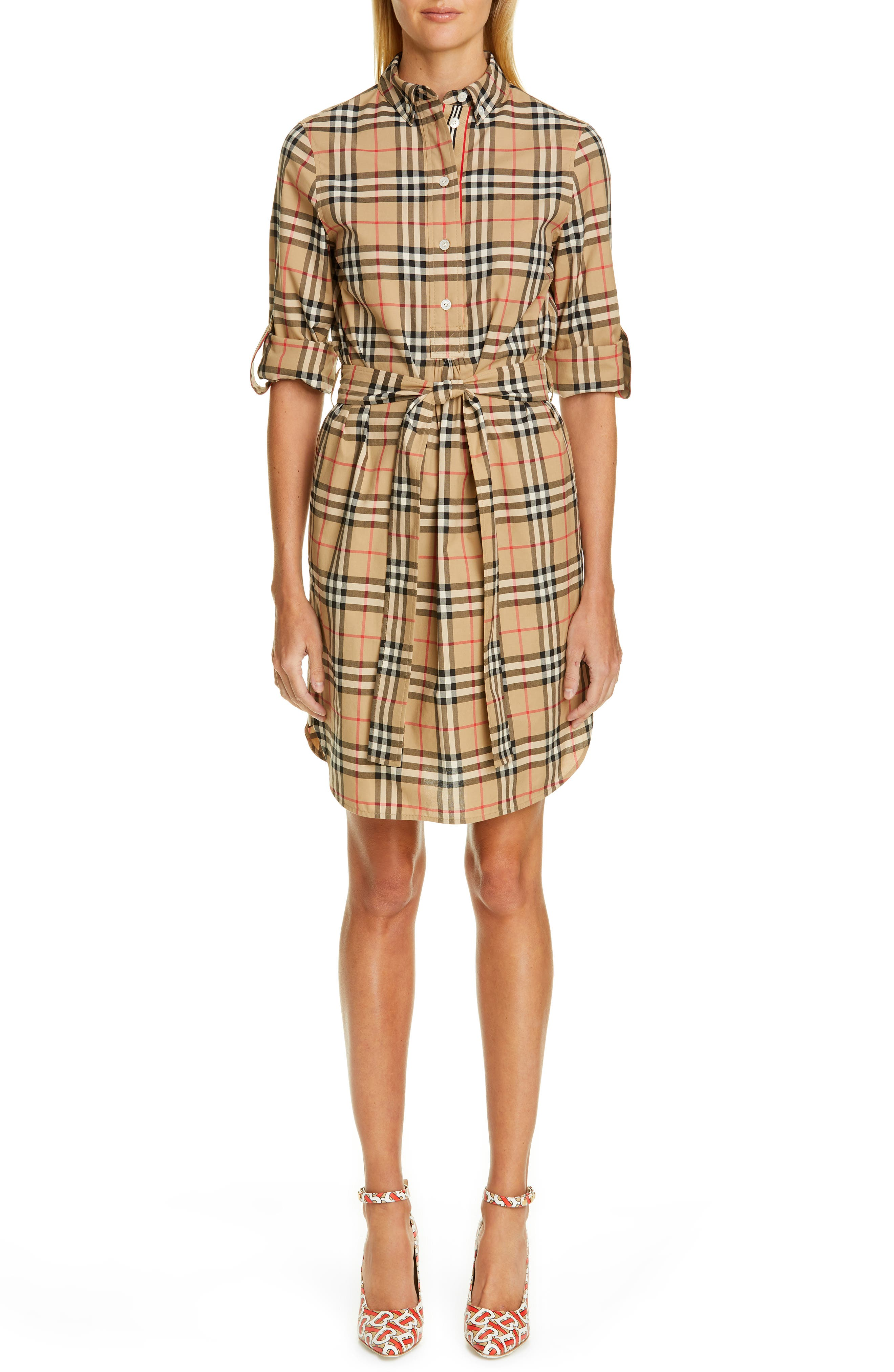 BURBERRY, Giovanna Archive Check Shirtdress, Main thumbnail 1, color, ARCHIVE BEIGE IP CHK