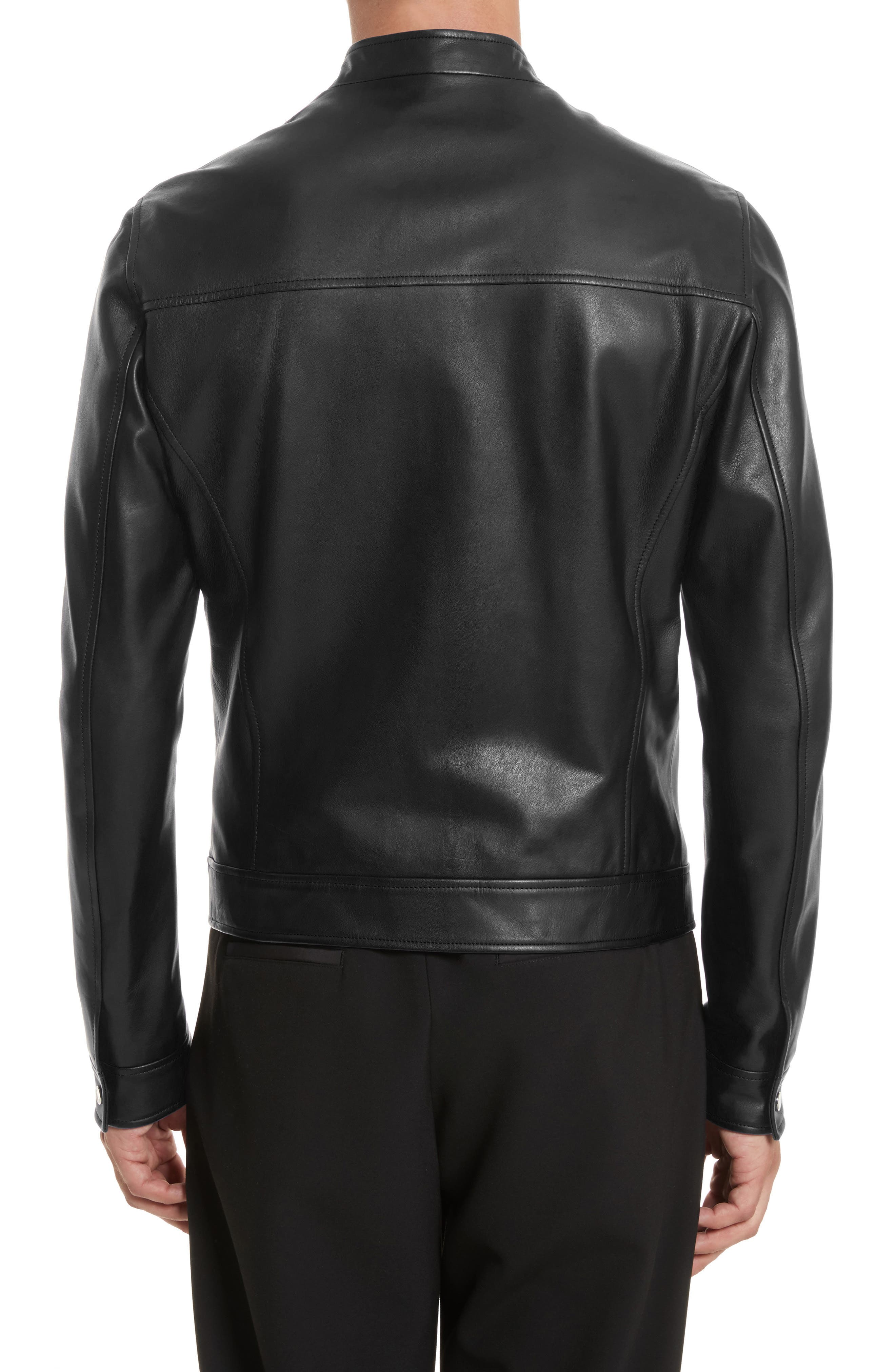 VERSACE COLLECTION, Café Racer Leather Jacket, Alternate thumbnail 2, color, 130