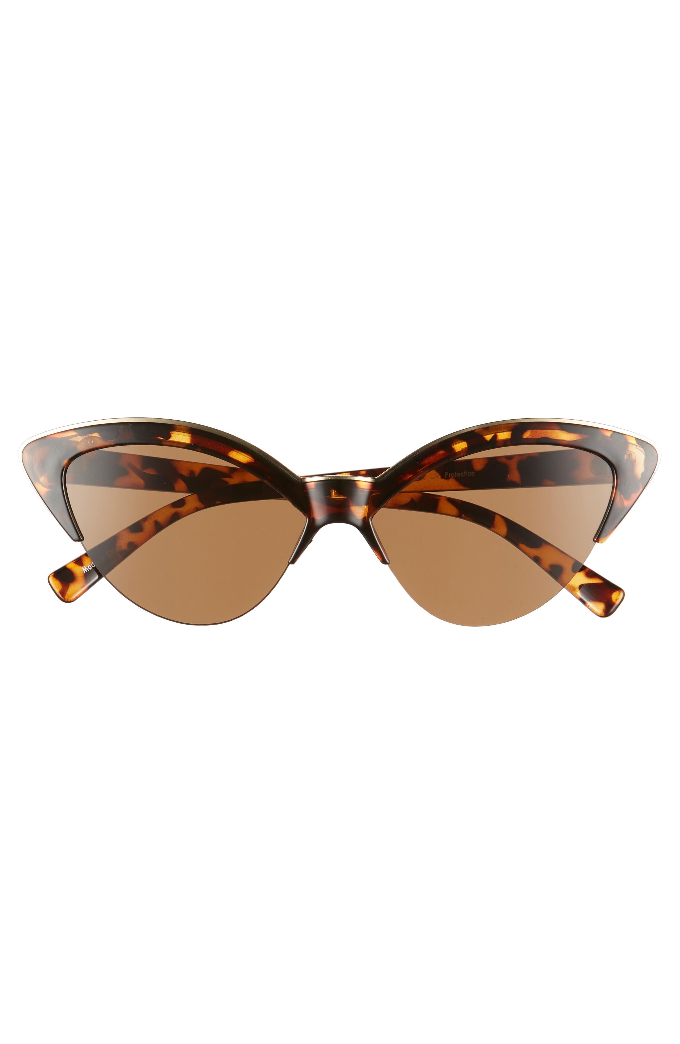 BP., Leith 54mm Metal Trim Cat Eye Sunglasses, Alternate thumbnail 3, color, TORT