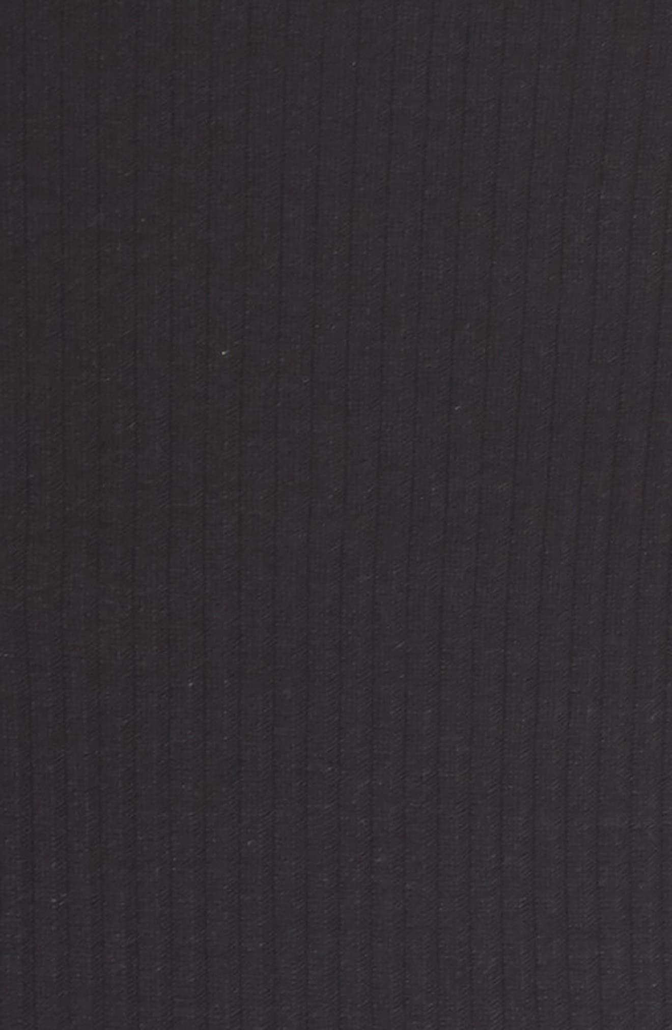 ROSEMUNDE, Lace Trim Rib Silk Blend Tank, Alternate thumbnail 5, color, BLACK