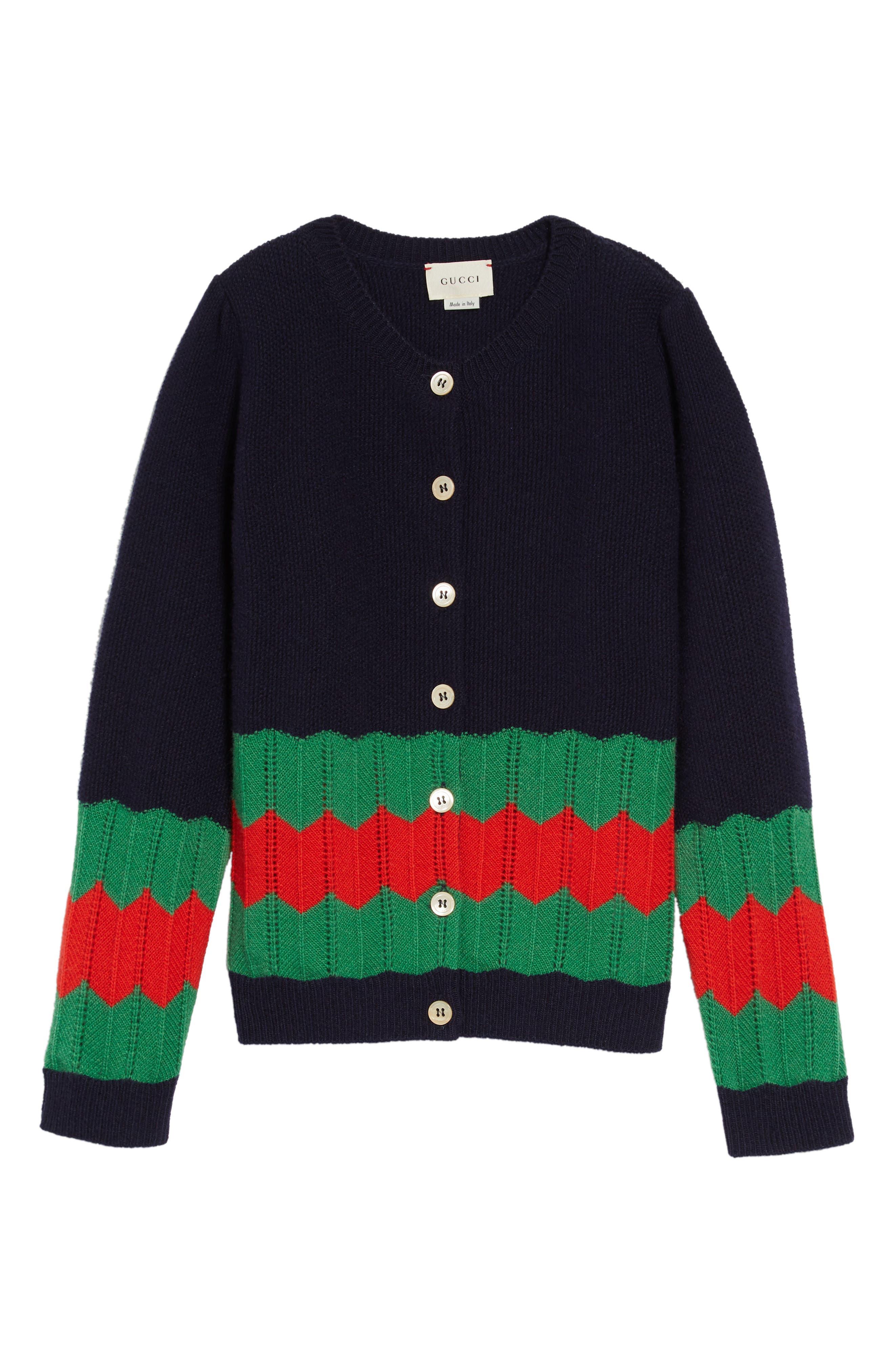 Girls Gucci Wool Knit Cardigan Size 8Y  Blue
