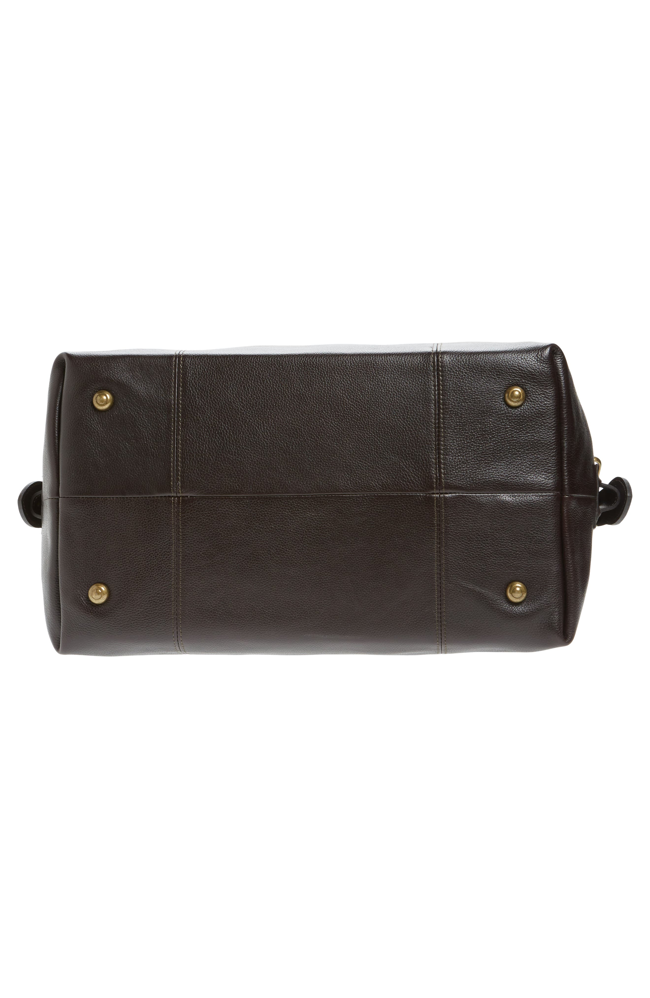 BARBOUR, Leather Travel Bag, Alternate thumbnail 6, color, CHOCOLATE