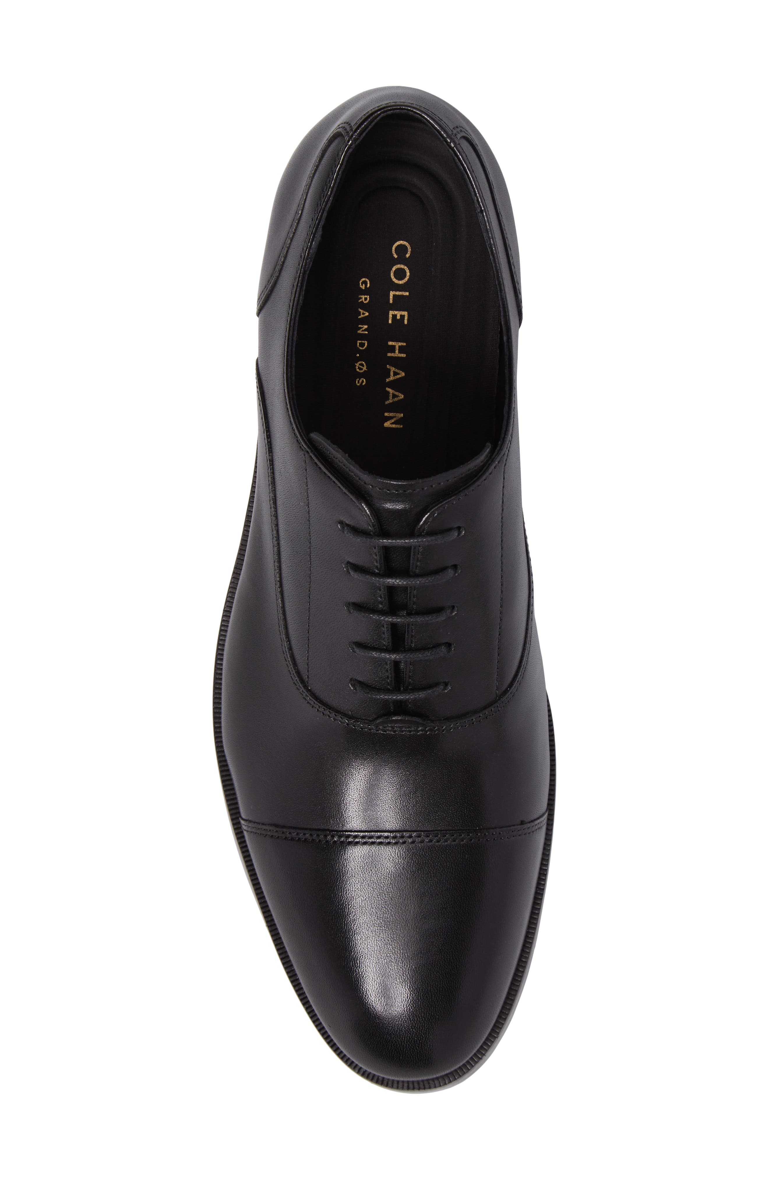 COLE HAAN, Harrison Grand Cap Toe Oxford, Alternate thumbnail 5, color, BLACK/ BLACK LEATHER