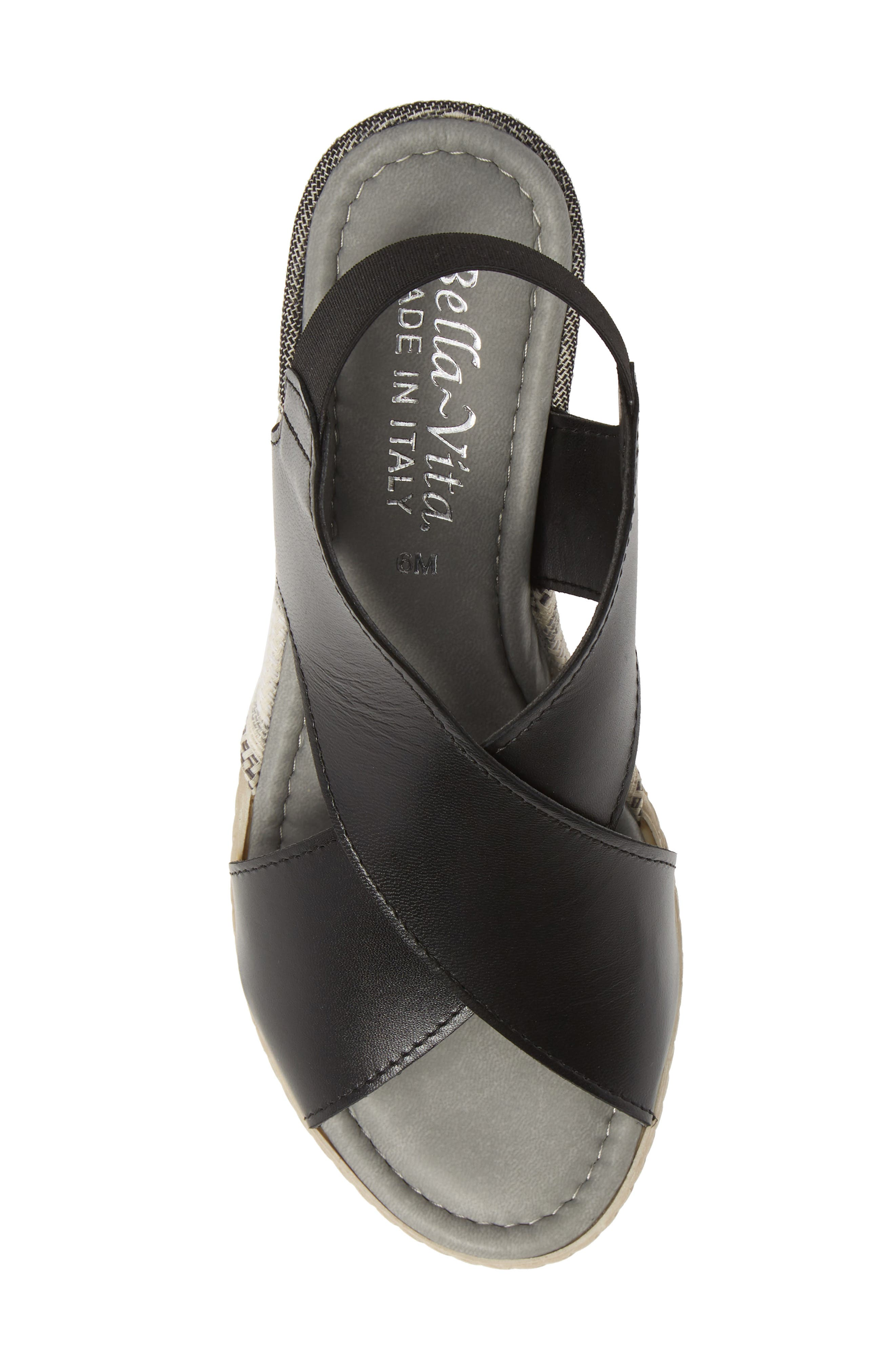 BELLA VITA, Slingback Sandal, Alternate thumbnail 5, color, BLACK ITALIAN LEATHER