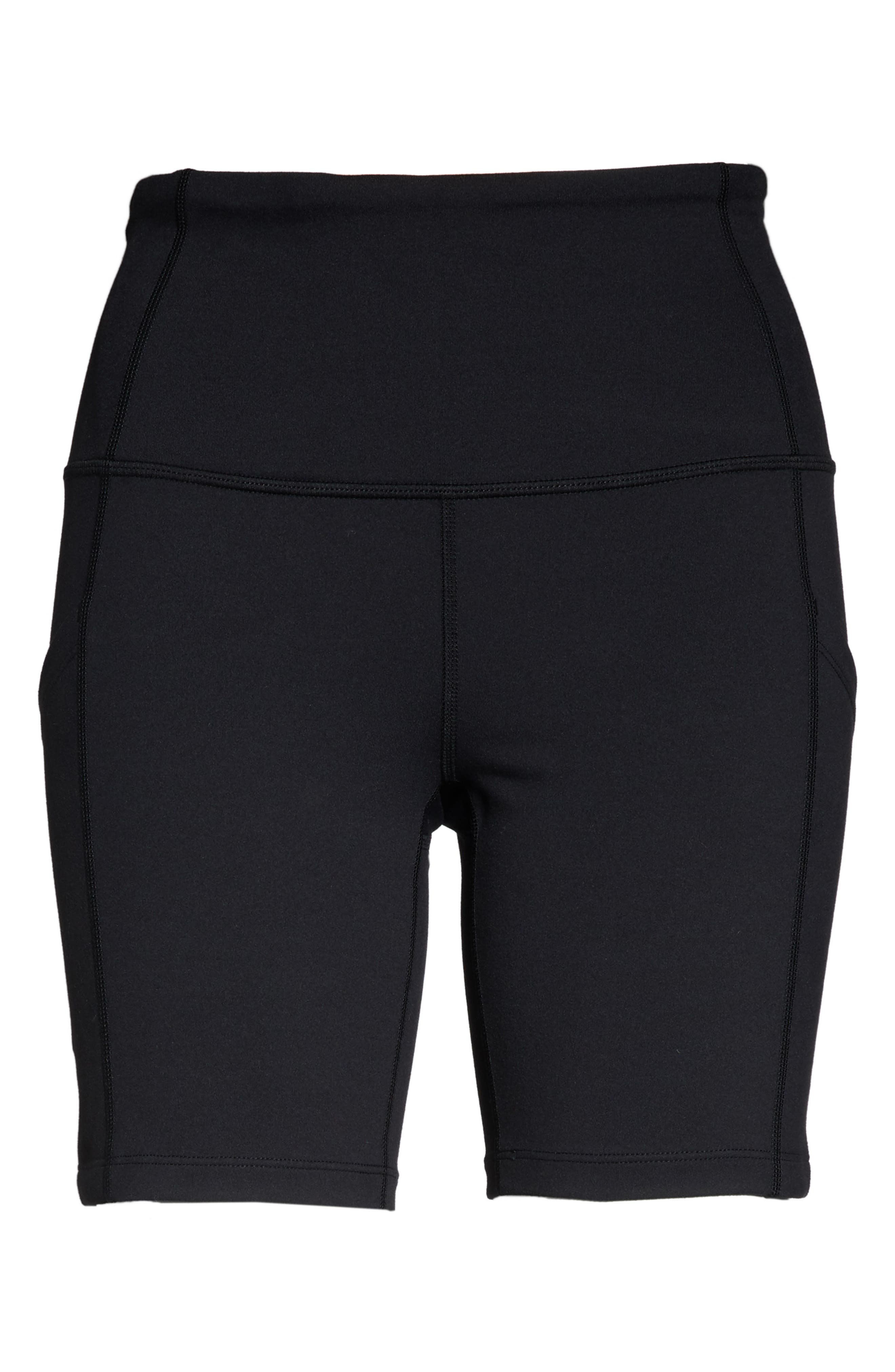 ZELLA, Live In High Waist Pocket Bike Shorts, Alternate thumbnail 7, color, BLACK