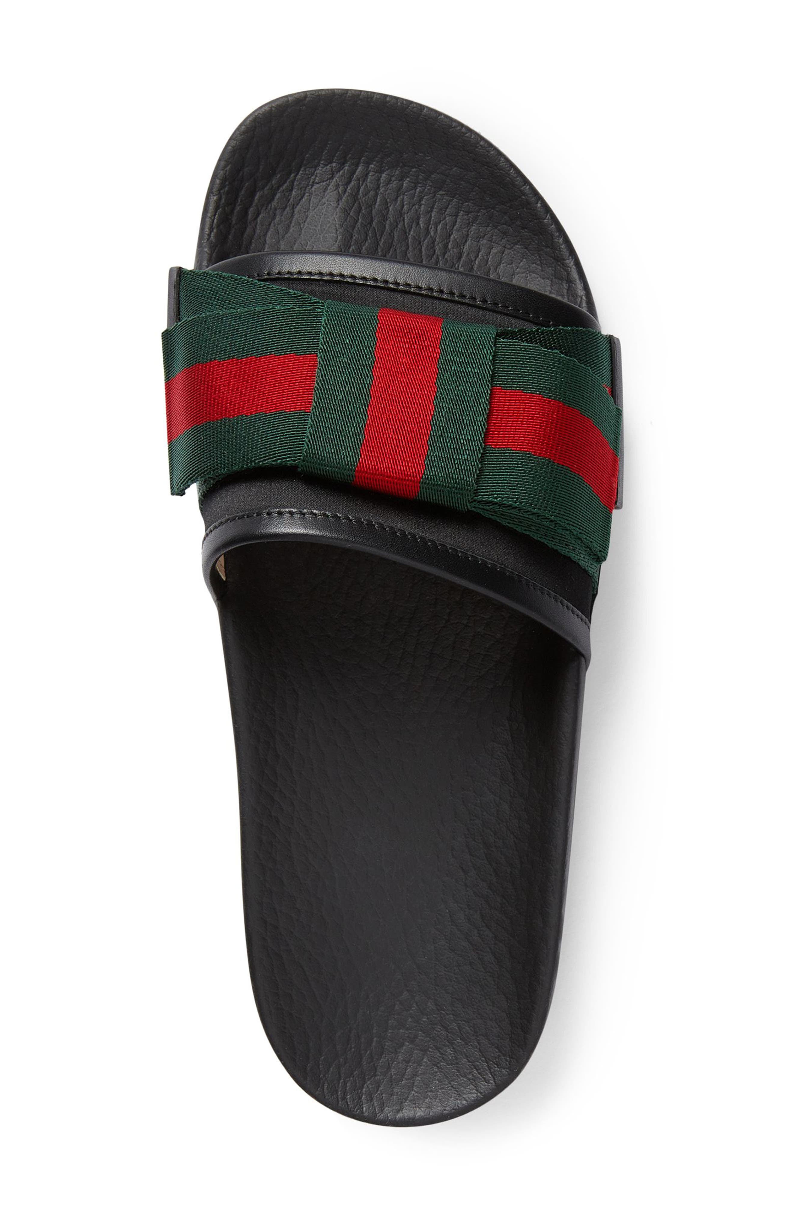 GUCCI, Pursuit Bow Slide Sandal, Alternate thumbnail 3, color, BLACK