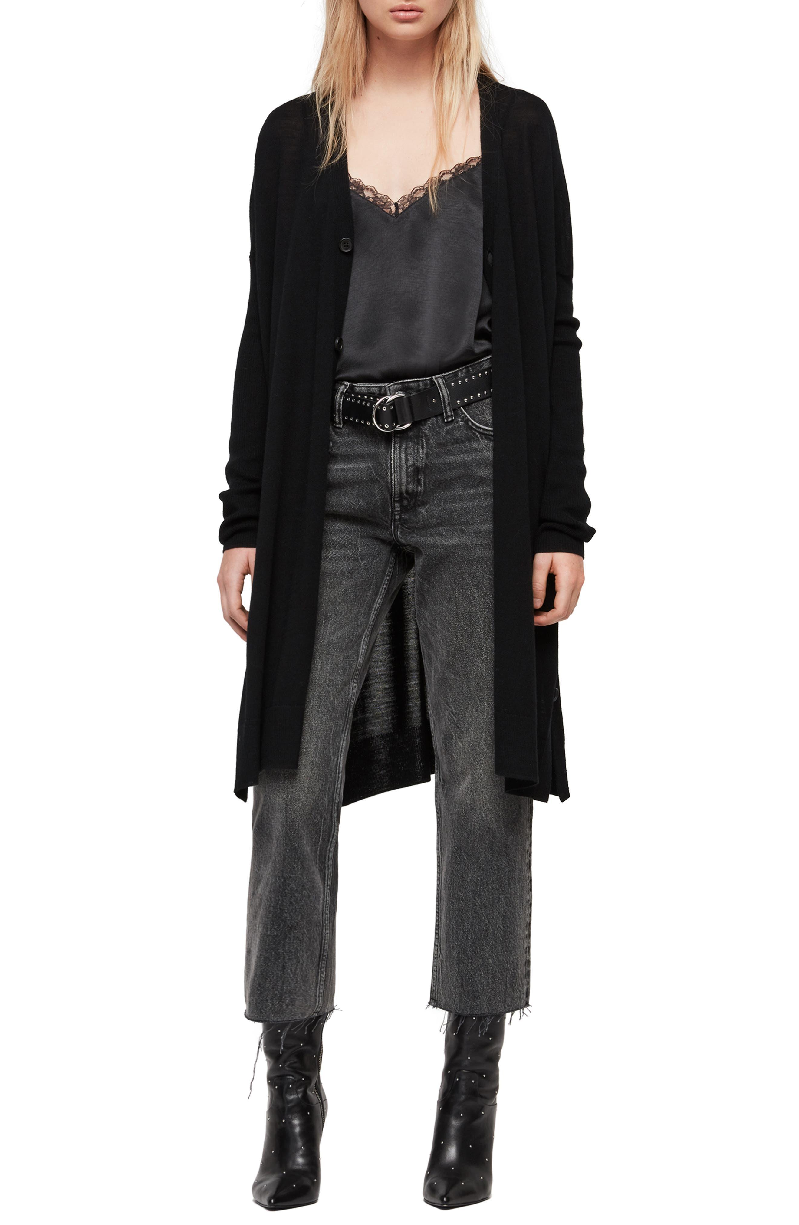 ALLSAINTS Mori Merino Wool Cardigan, Main, color, BLACK