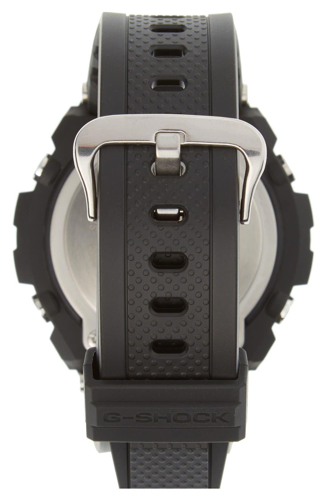 G-SHOCK BABY-G, G-Shock 'G-Steel' Ana-Digi Resin Strap Watch, 59mm x 52mm, Alternate thumbnail 4, color, BLACK