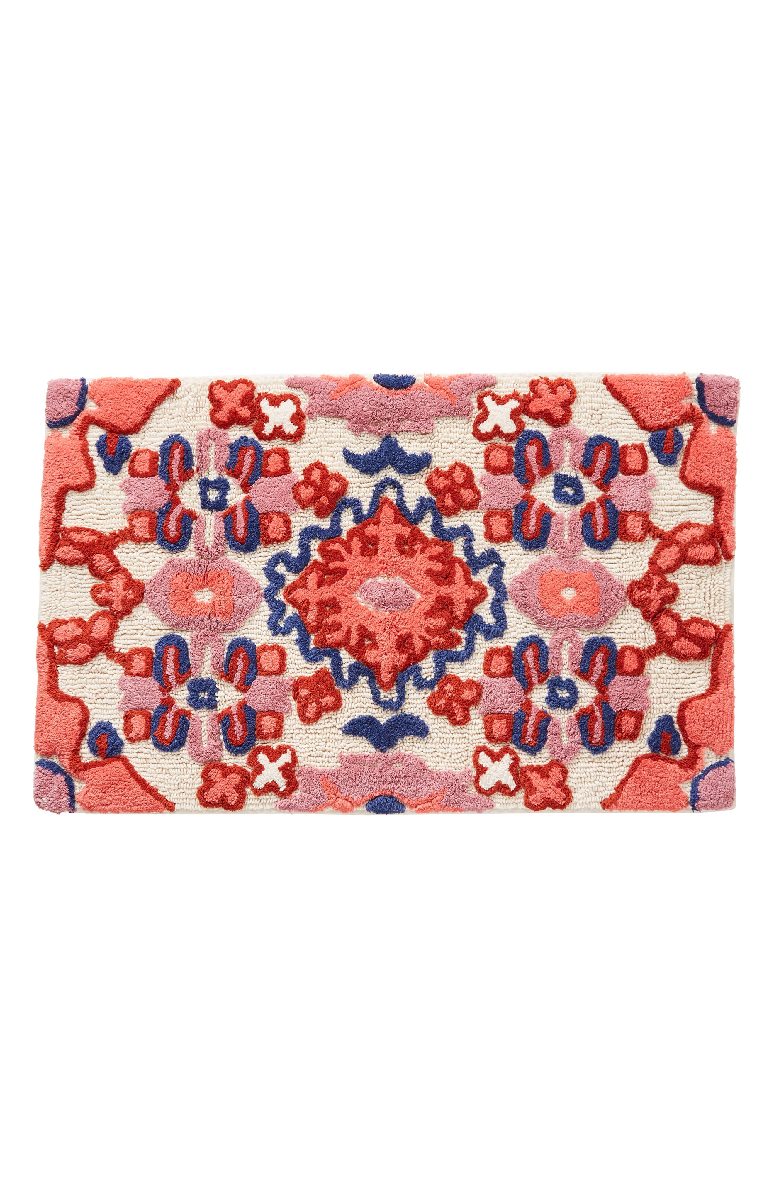 ANTHROPOLOGIE, Astor Bath Mat, Alternate thumbnail 2, color, RED COMBO