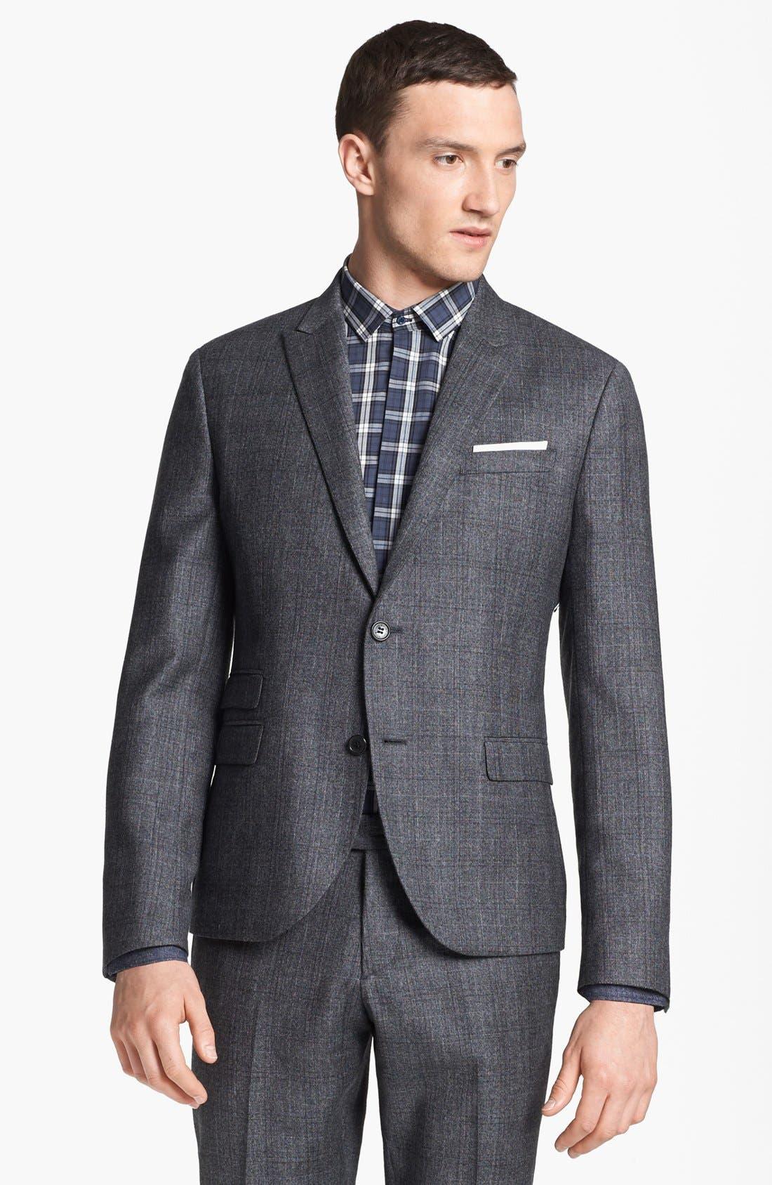 NEIL BARRETT, Windowpane Plaid Wool Suit, Alternate thumbnail 6, color, 020