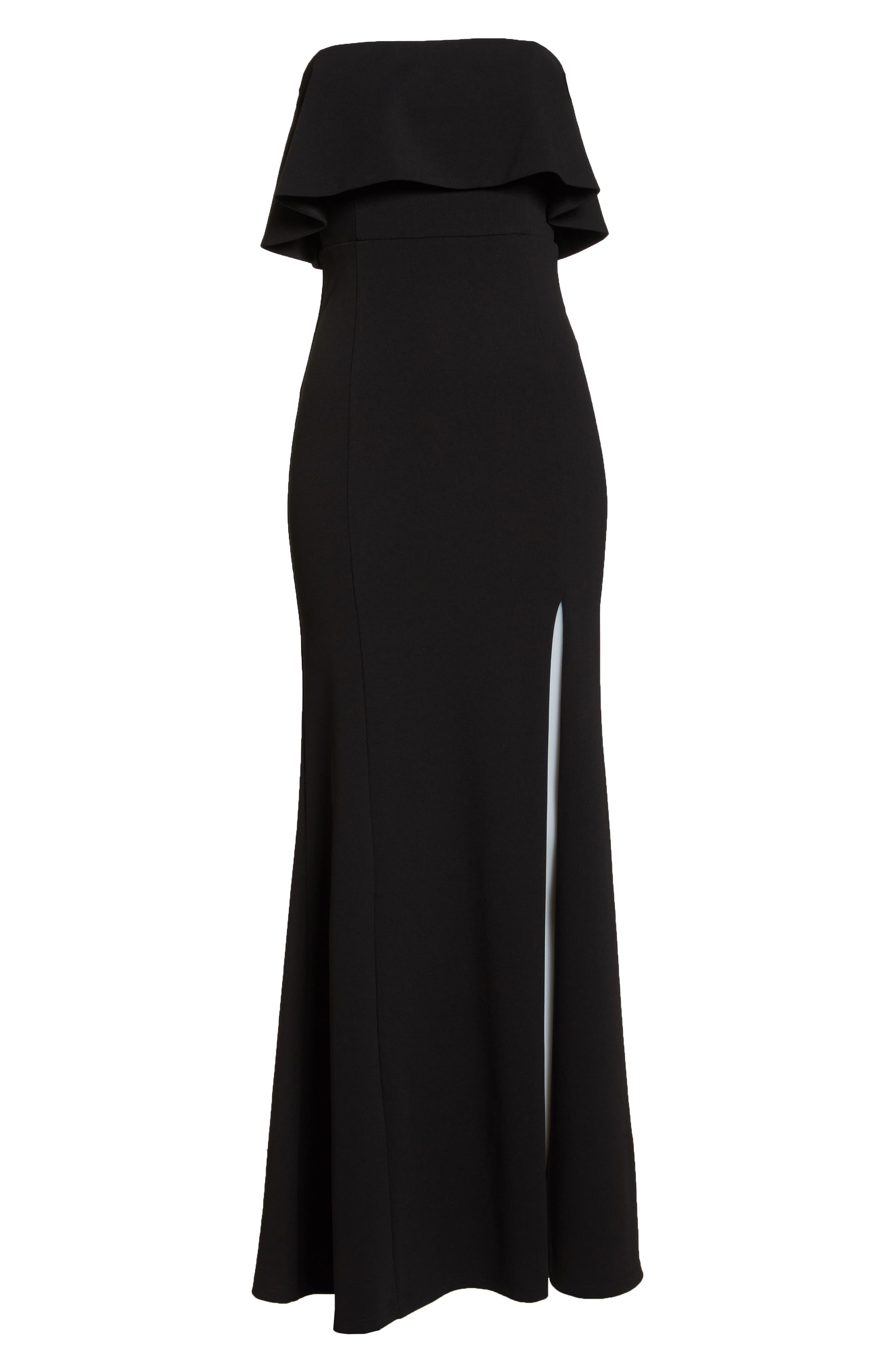 LULUS, Off the Shoulder Maxi Gown, Alternate thumbnail 7, color, BLACK