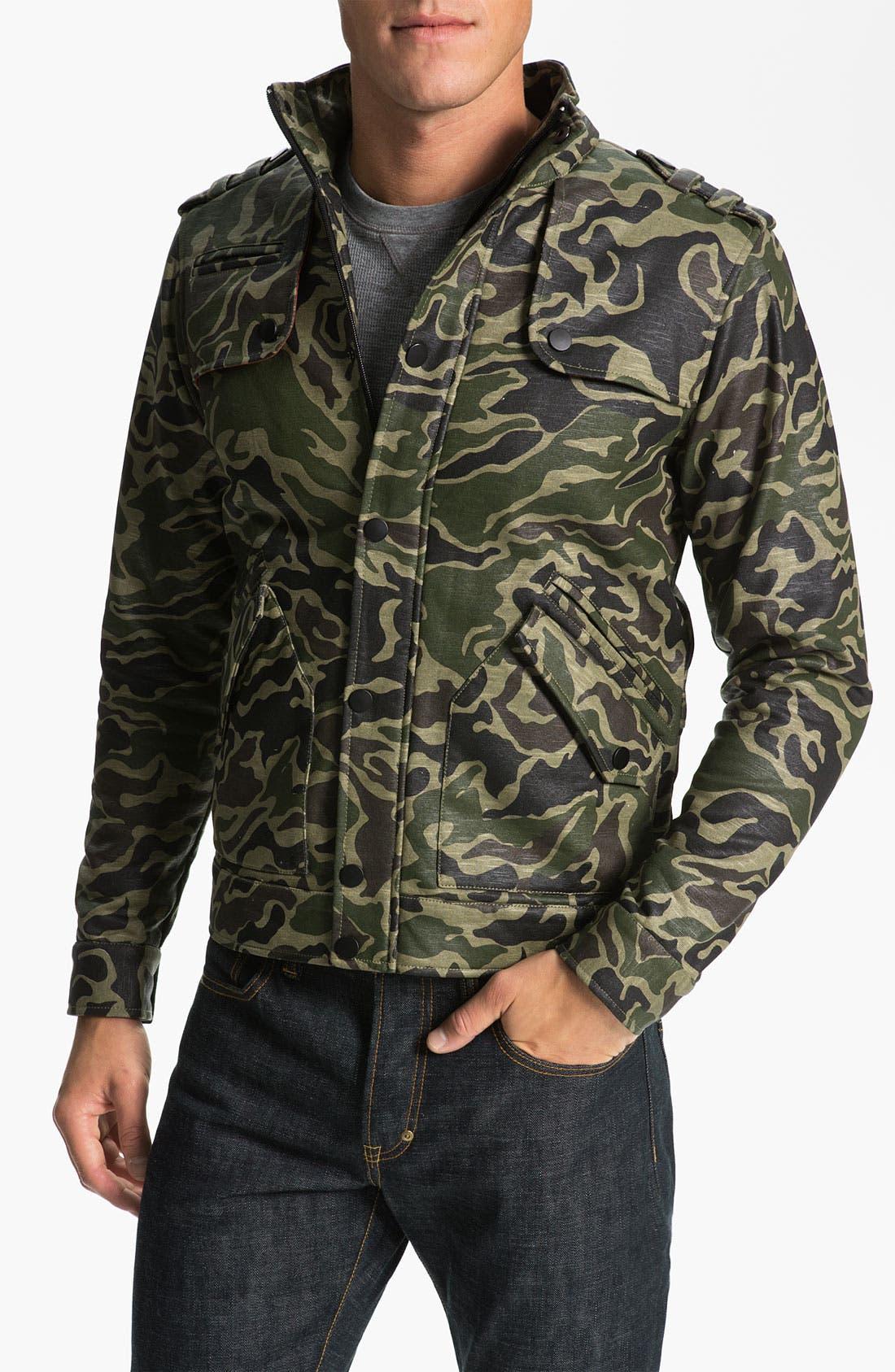 KANE & UNKE Slub Knit Trim Fit Camo Jacket, Main, color, 964