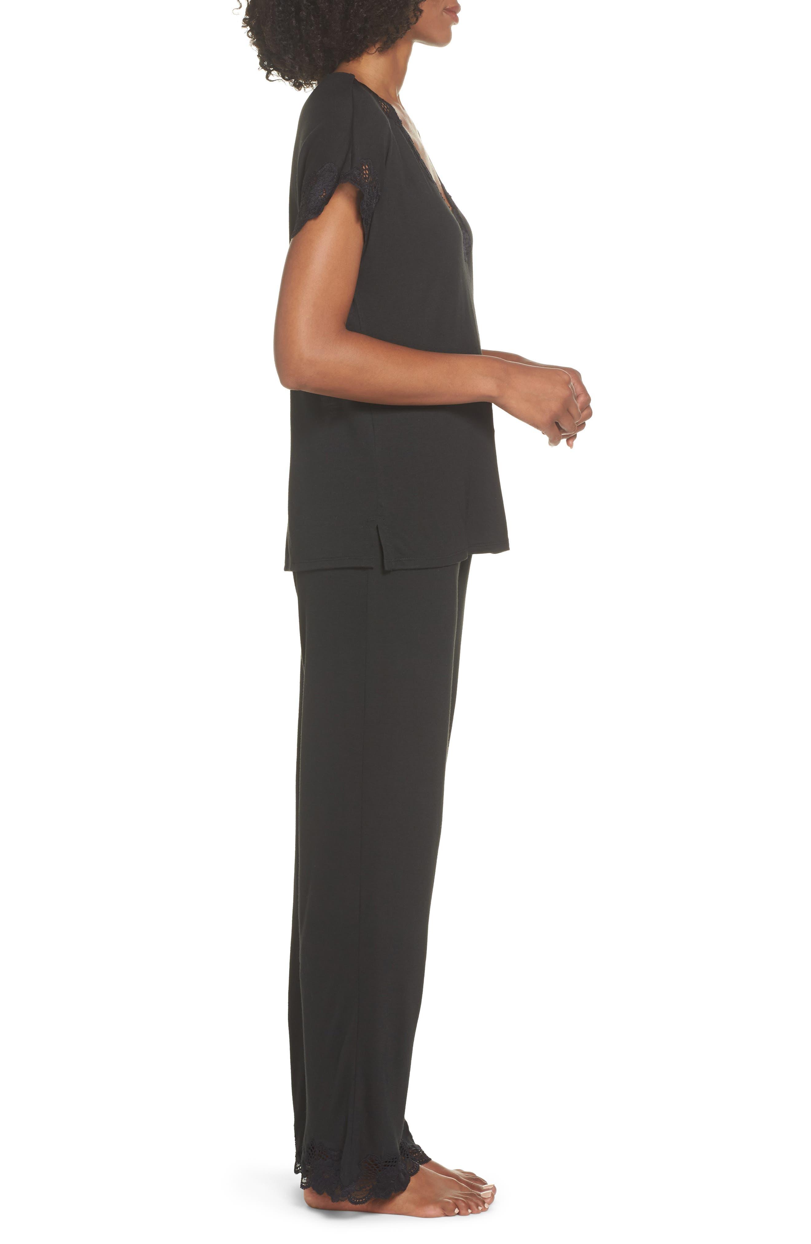 NATORI, 'Zen Floral' Pajama Set, Alternate thumbnail 3, color, BLACK