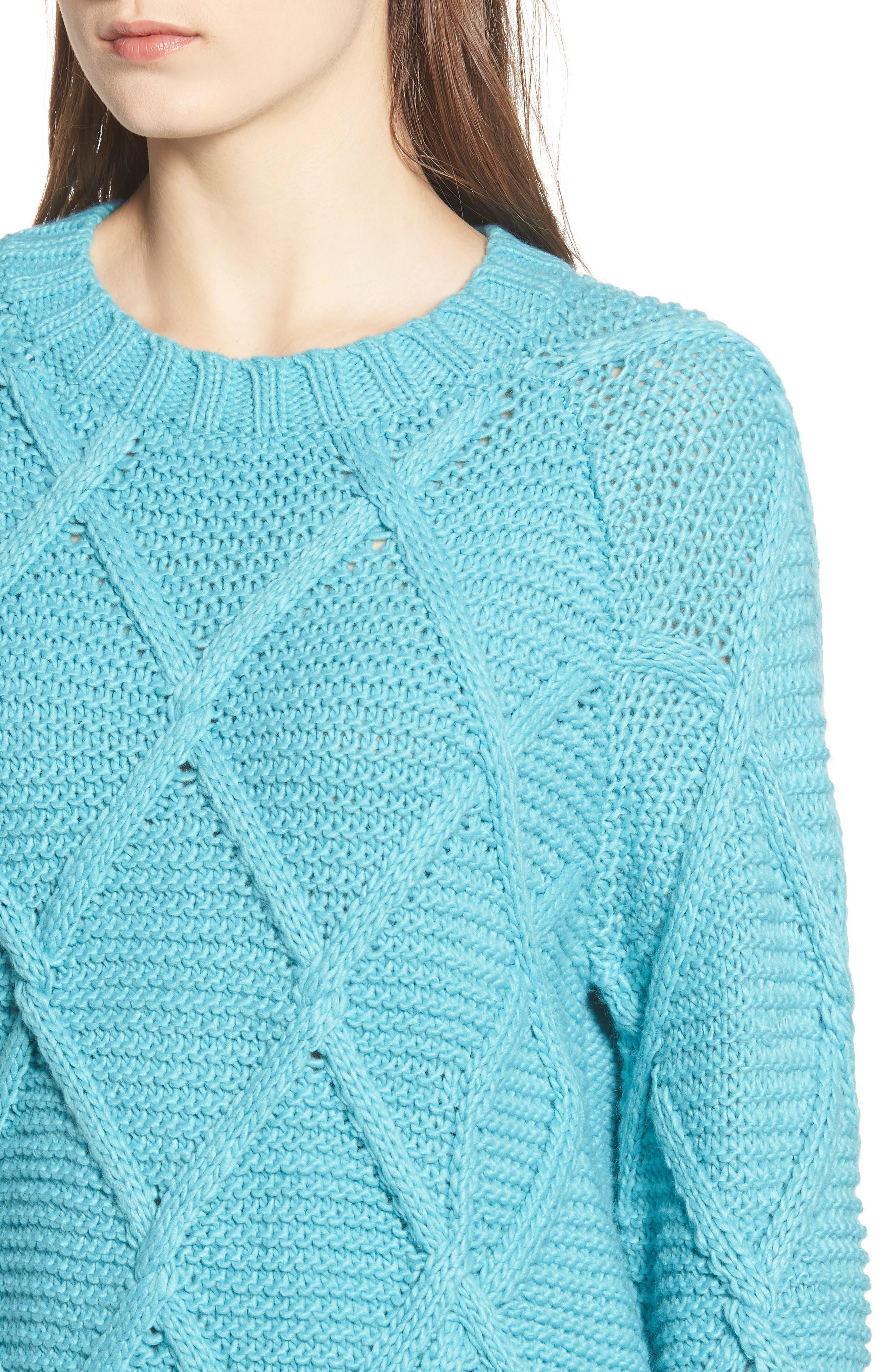 PROSPERITY DENIM, Cable Knit Sweater, Alternate thumbnail 4, color, 400