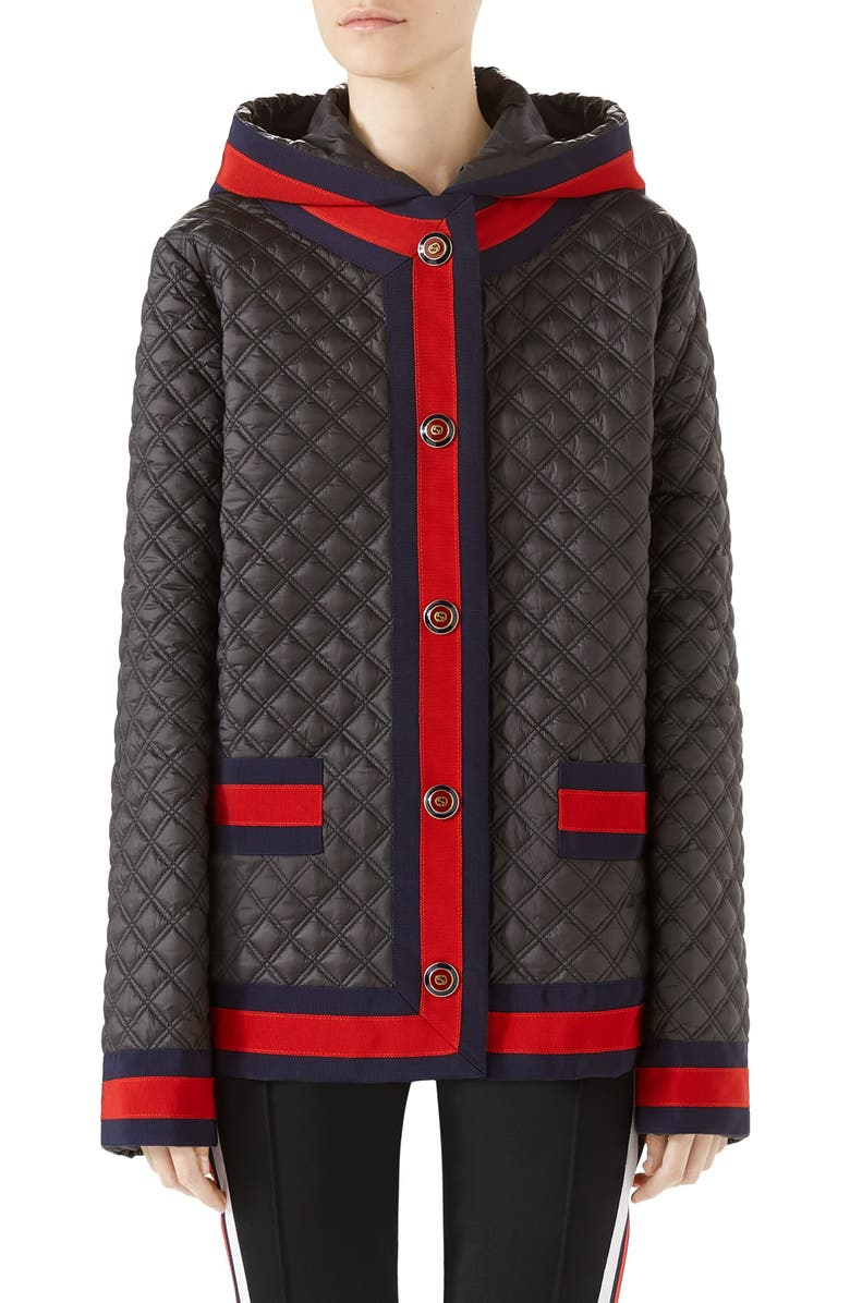 6df89bfd6 GUCCI Quilted Caban with Removable Hood, Main, color, BLACK