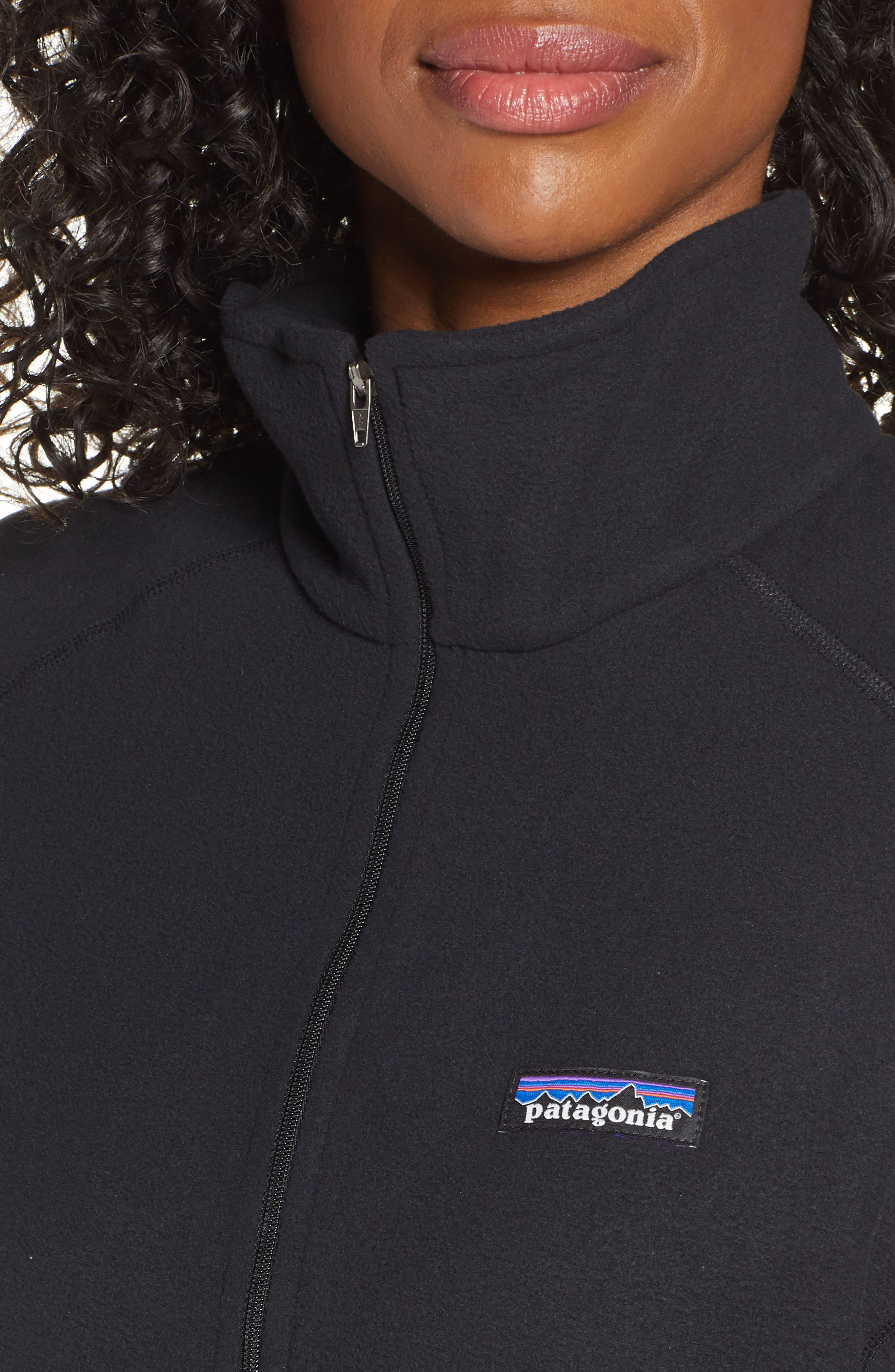 PATAGONIA, Micro D<sup>®</sup> Quarter-Zip Fleece Pullover, Alternate thumbnail 5, color, BLACK