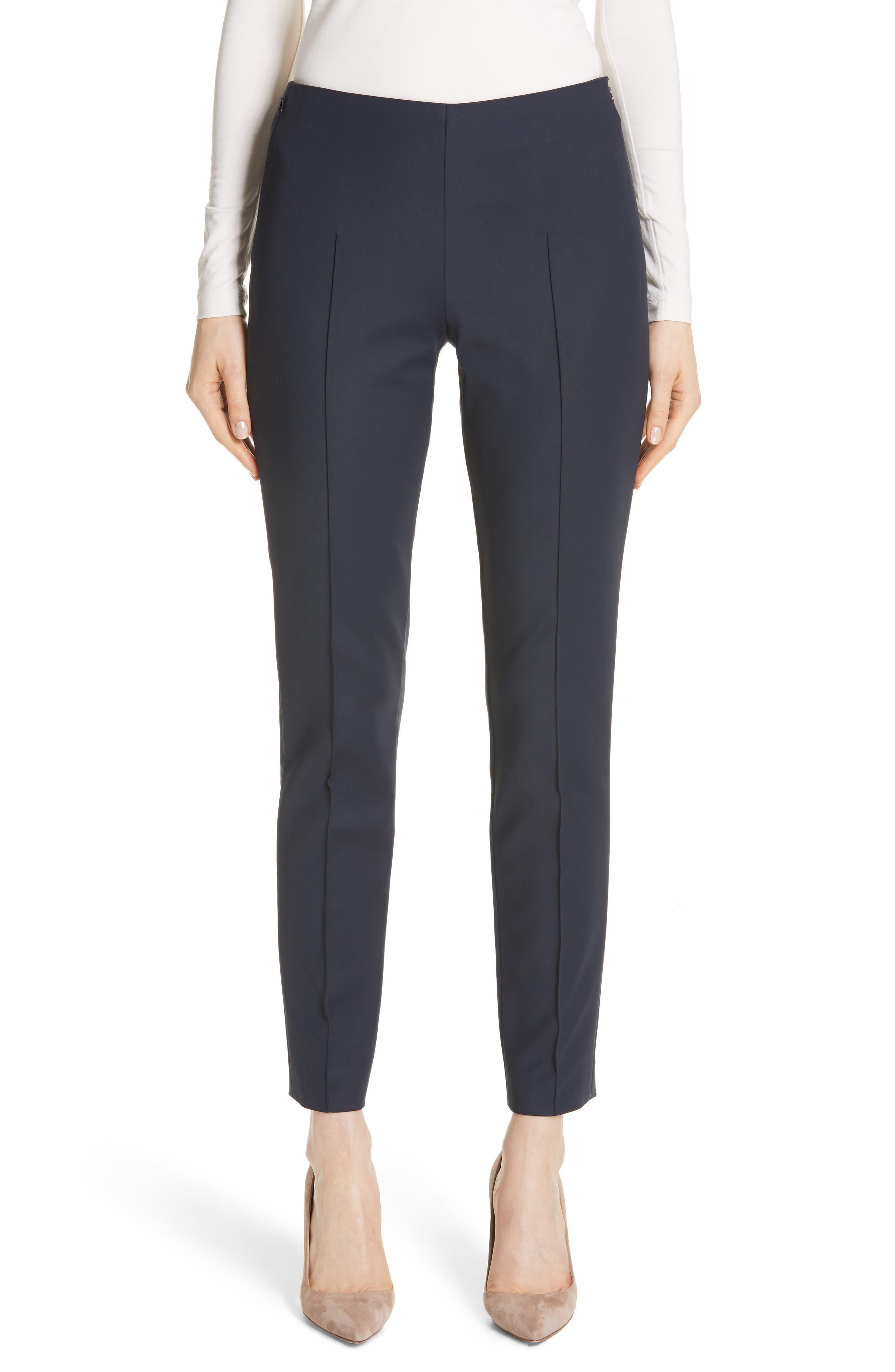 AKRIS, 'Melissa' Slim Techno Cotton Ankle Pants, Main thumbnail 1, color, NAVY