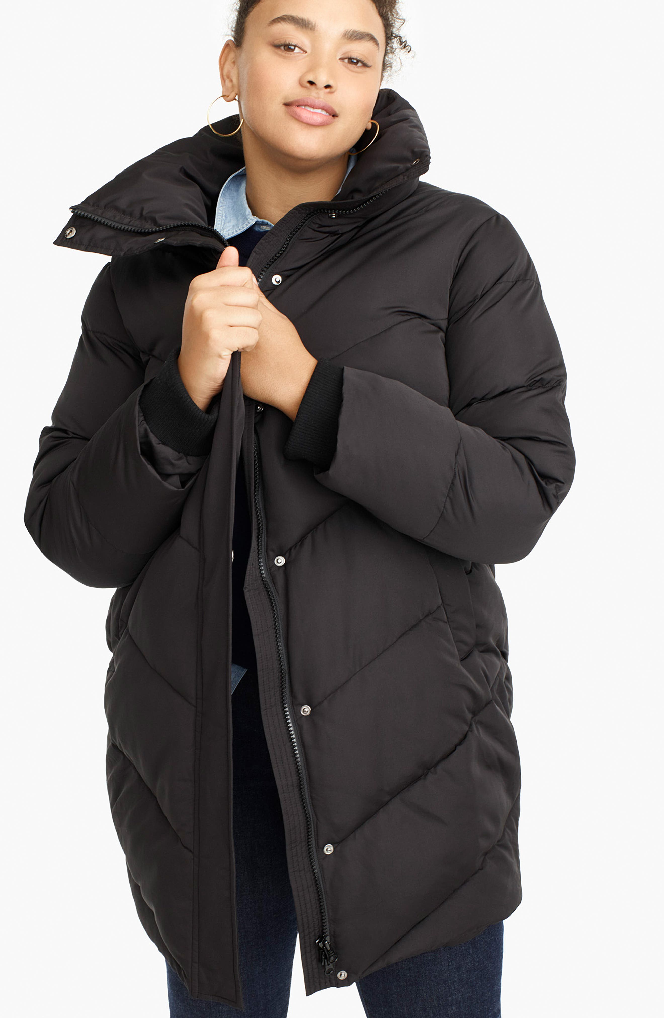 UNIVERSAL STANDARD, for J.Crew Chevron Long Puffer Coat, Alternate thumbnail 7, color, BLACK