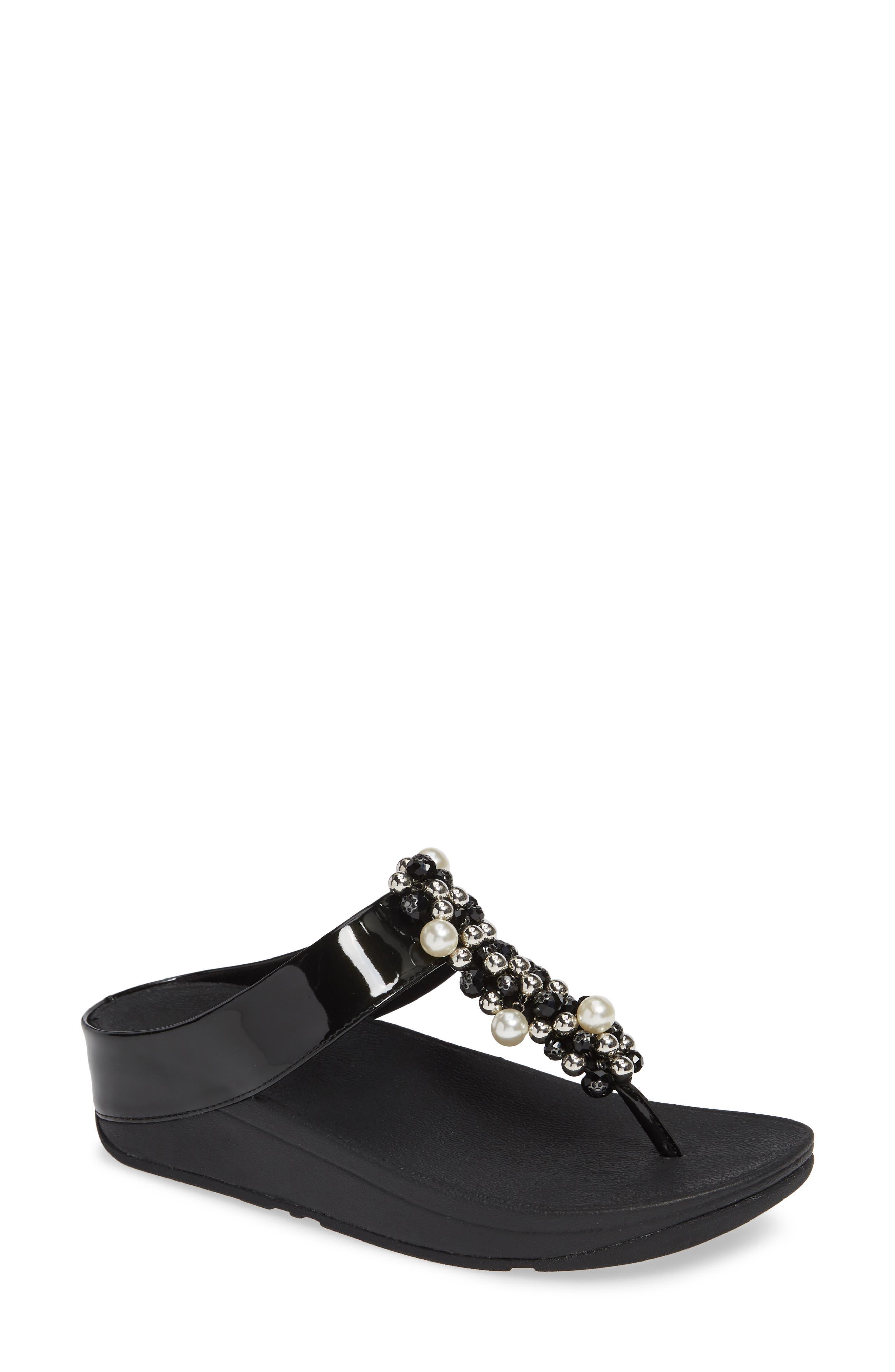 FITFLOP Deco Embellished Flip Flop, Main, color, BLACK FABRIC