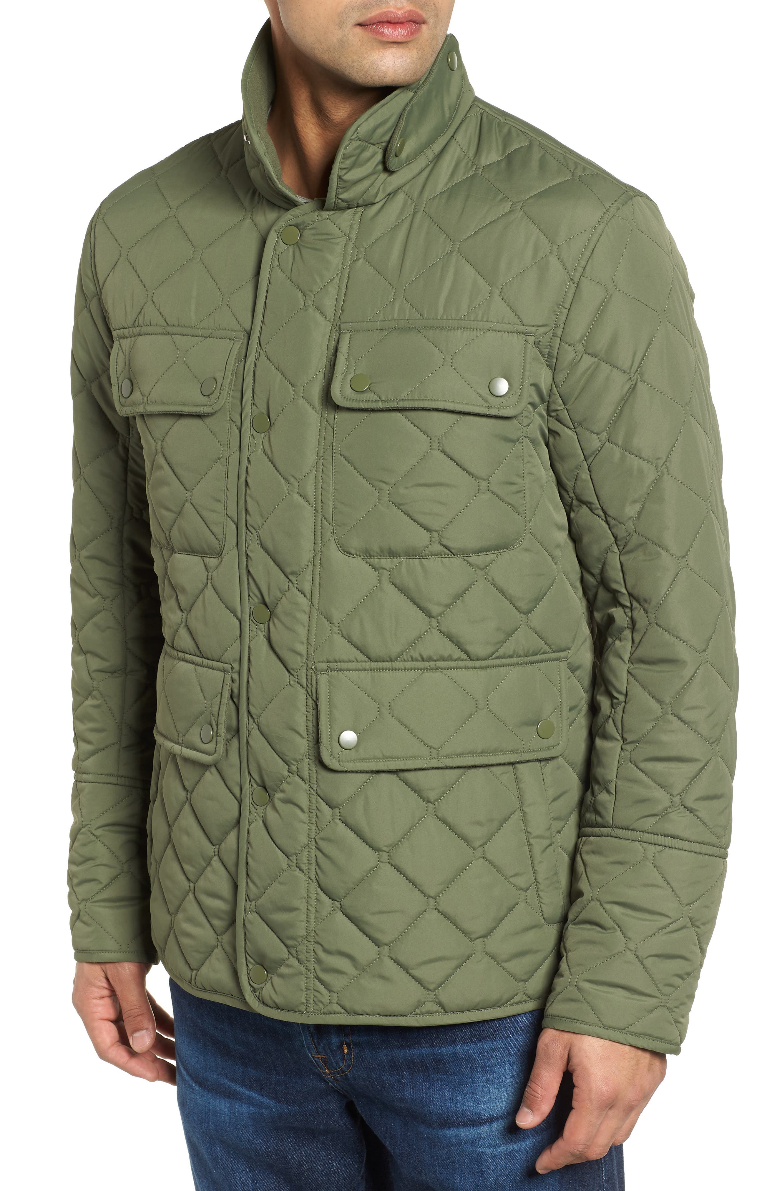 MARC NEW YORK, Canal Quilted Barn Jacket, Alternate thumbnail 5, color, OLIVE