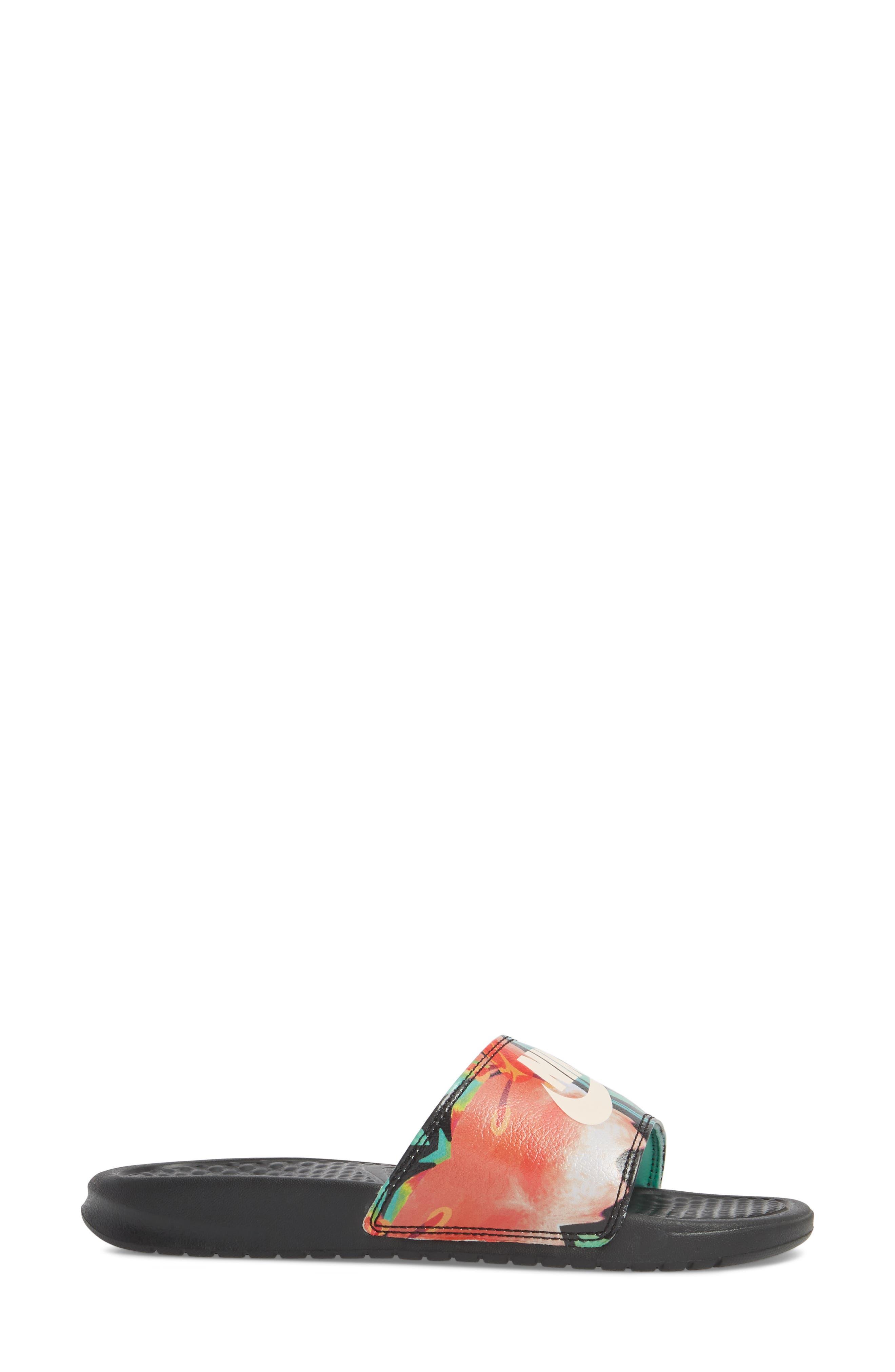 NIKE, 'Benassi - Just Do It' Print Sandal, Alternate thumbnail 3, color, BLACK/ CREAM