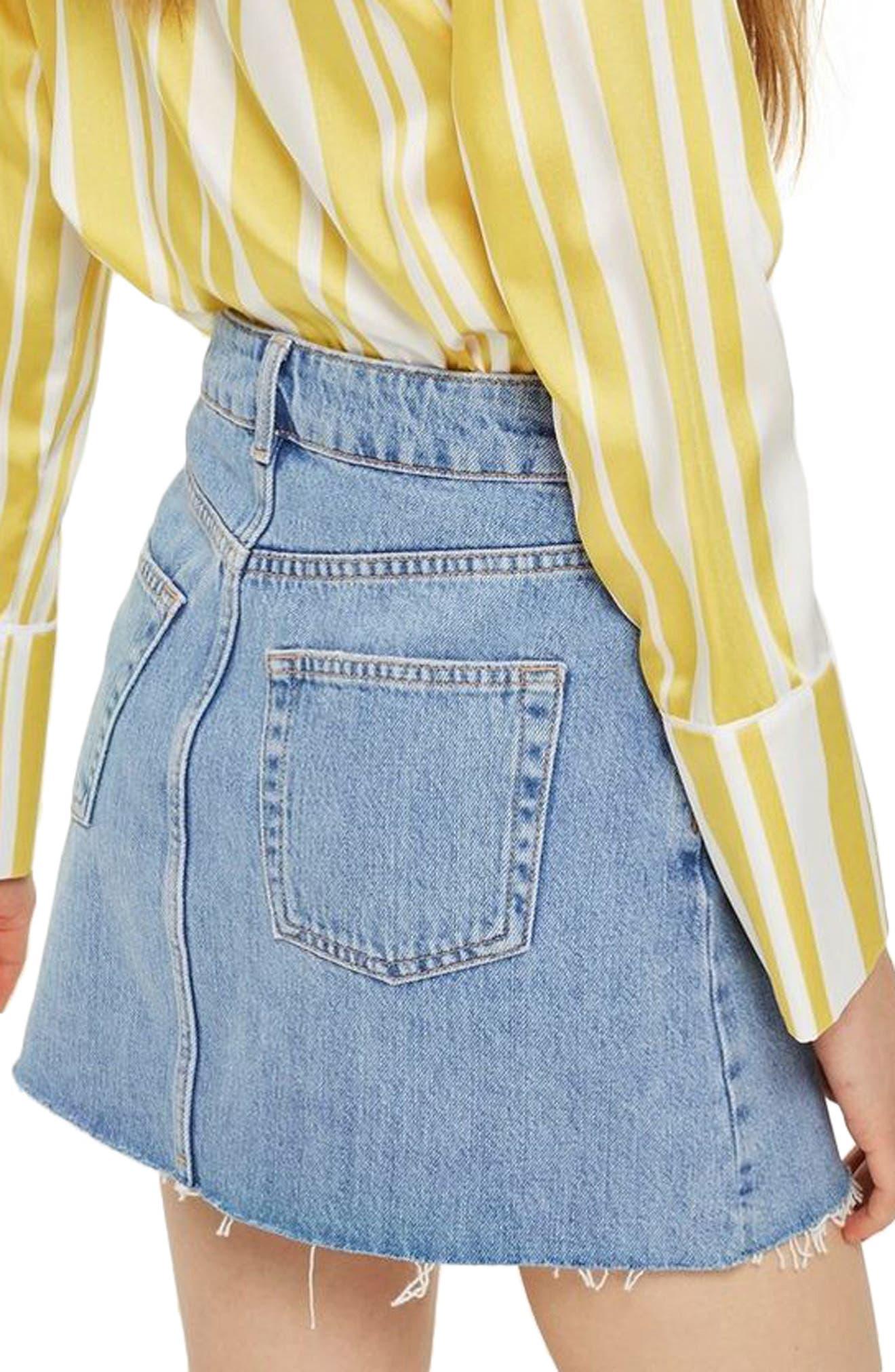 TOPSHOP, Denim Miniskirt, Alternate thumbnail 2, color, MID DENIM