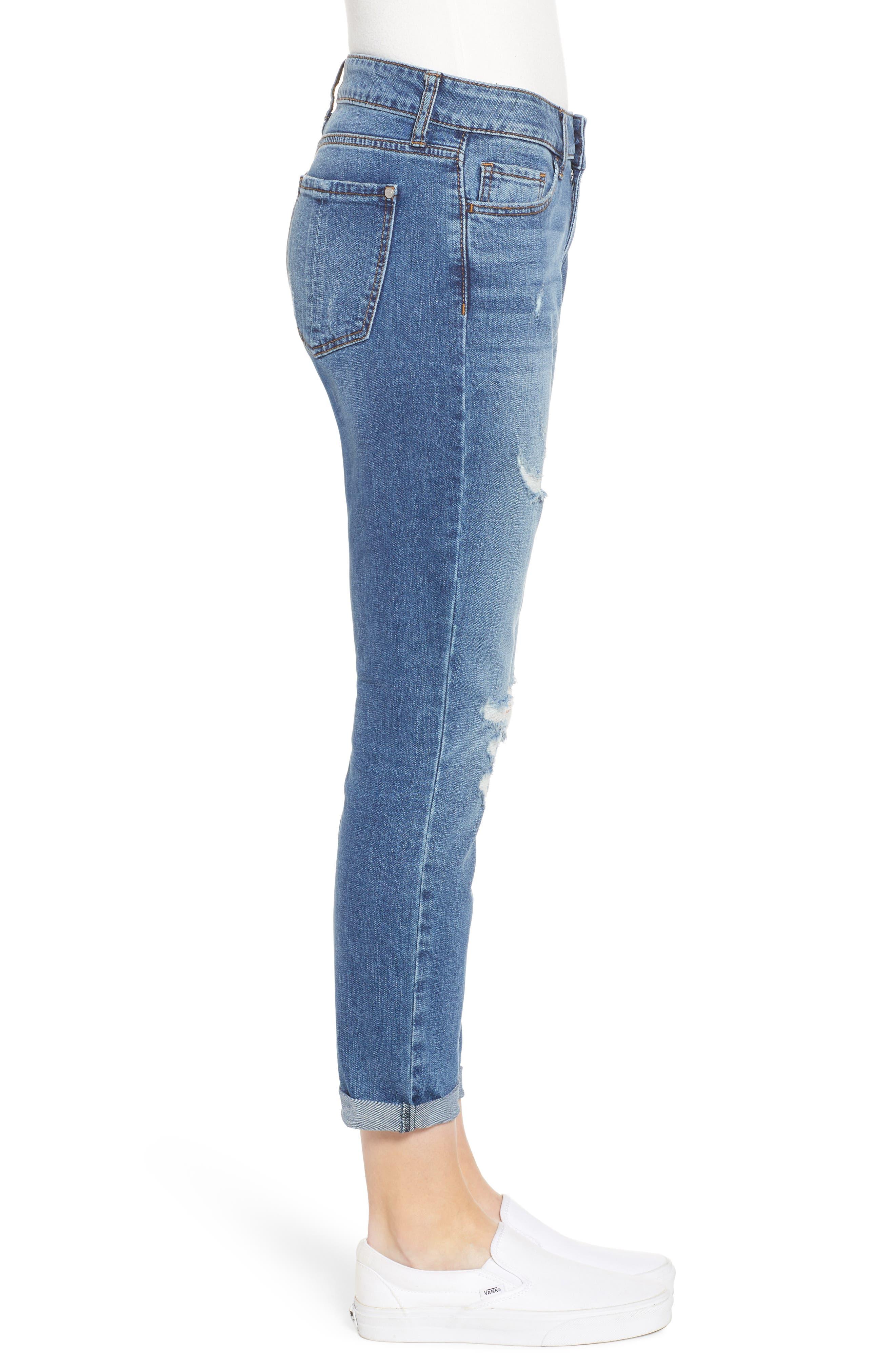 PROSPERITY DENIM, Distressed Ankle Boyfriend Jeans, Alternate thumbnail 4, color, MEDIUM WASH