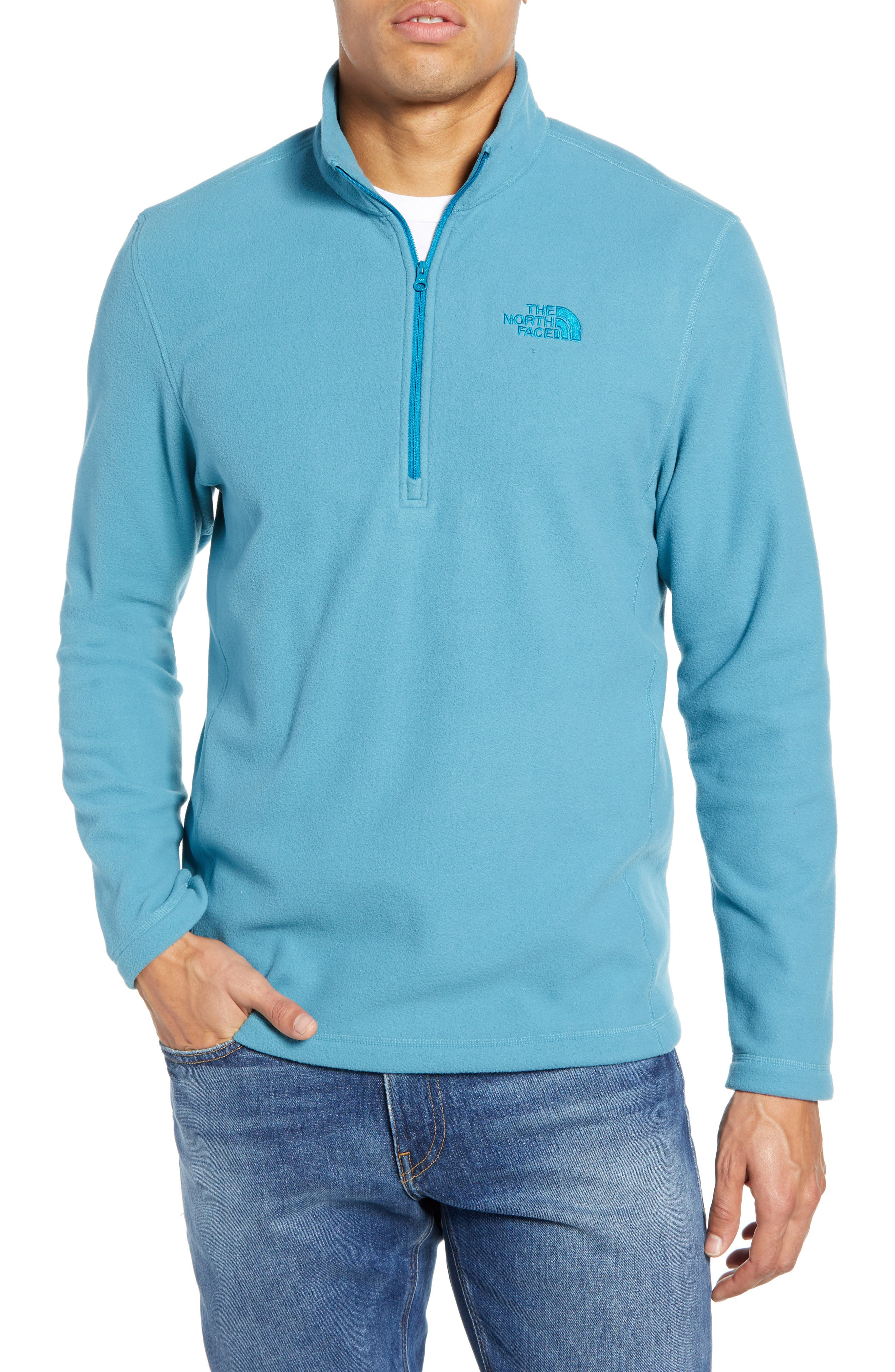 THE NORTH FACE, 'TKA 100 Glacier' Quarter Zip Fleece Pullover, Main thumbnail 1, color, AZTEC BLUE