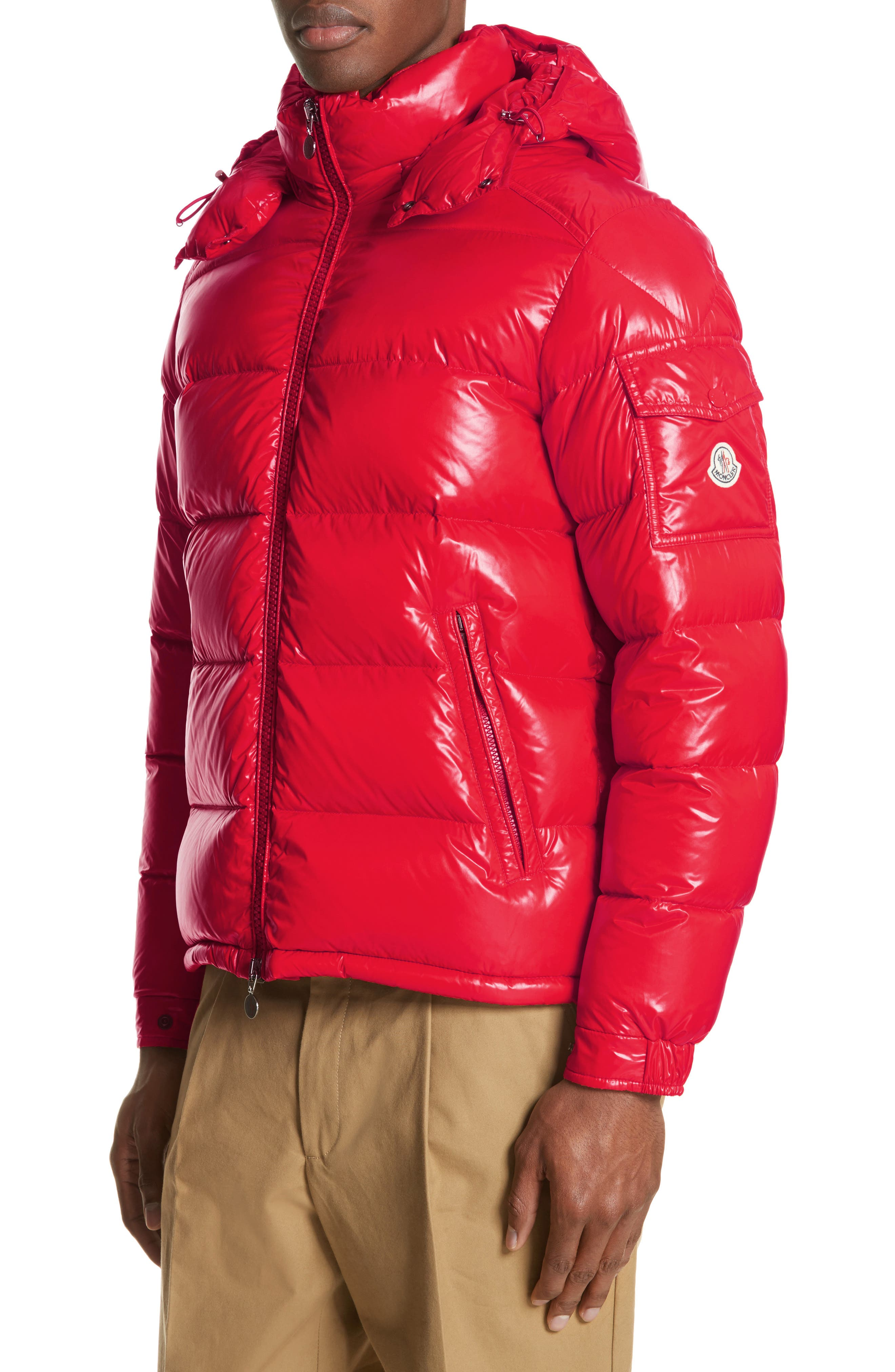 Moncler Maya Laque Quilted Down Jacket, Red
