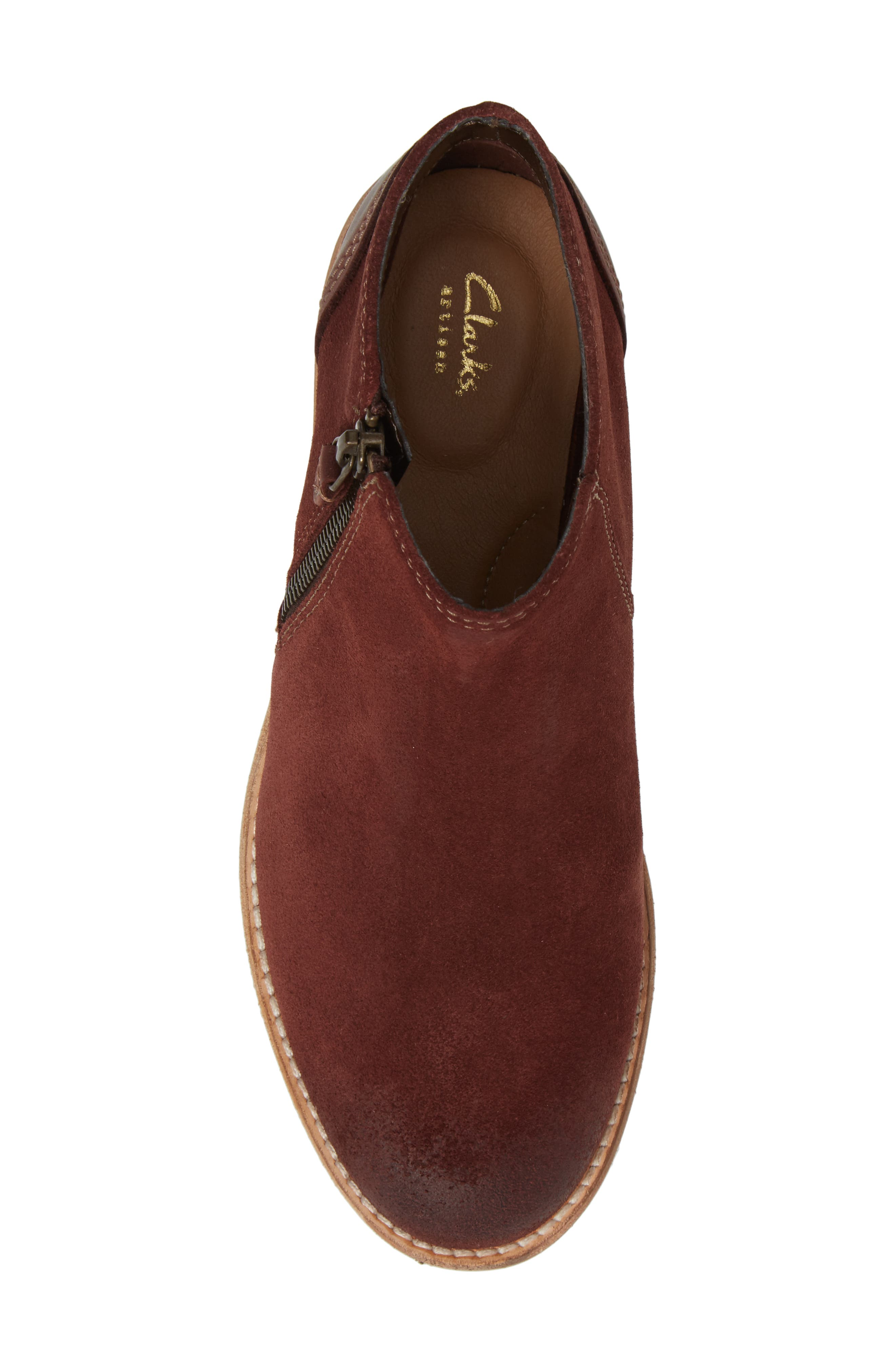 CLARKS<SUP>®</SUP>, Maypearl Juno Ankle Boot, Alternate thumbnail 5, color, MAHOGANY SUEDE