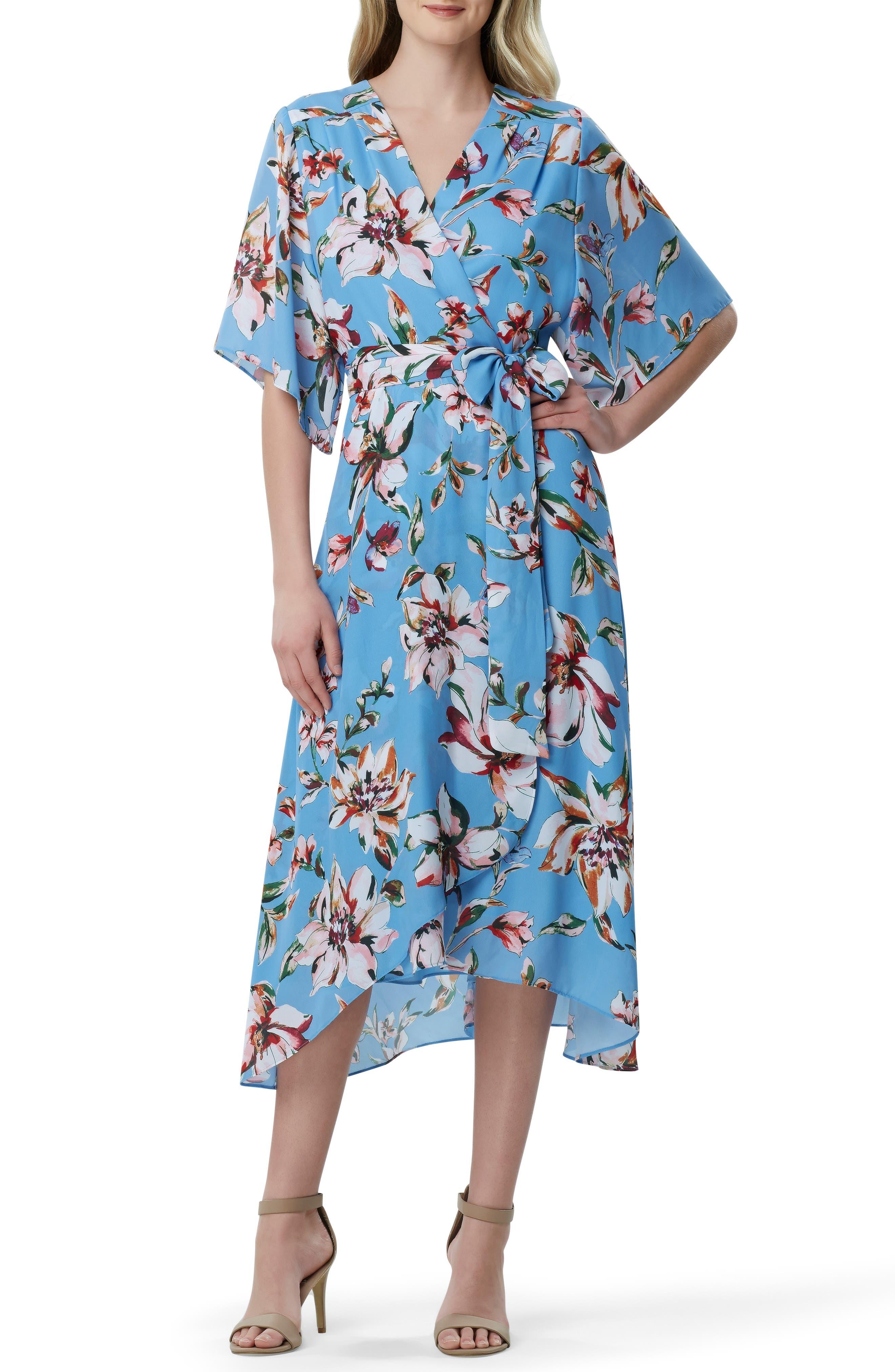 Tahari Faux Wrap Midi Dress, Blue