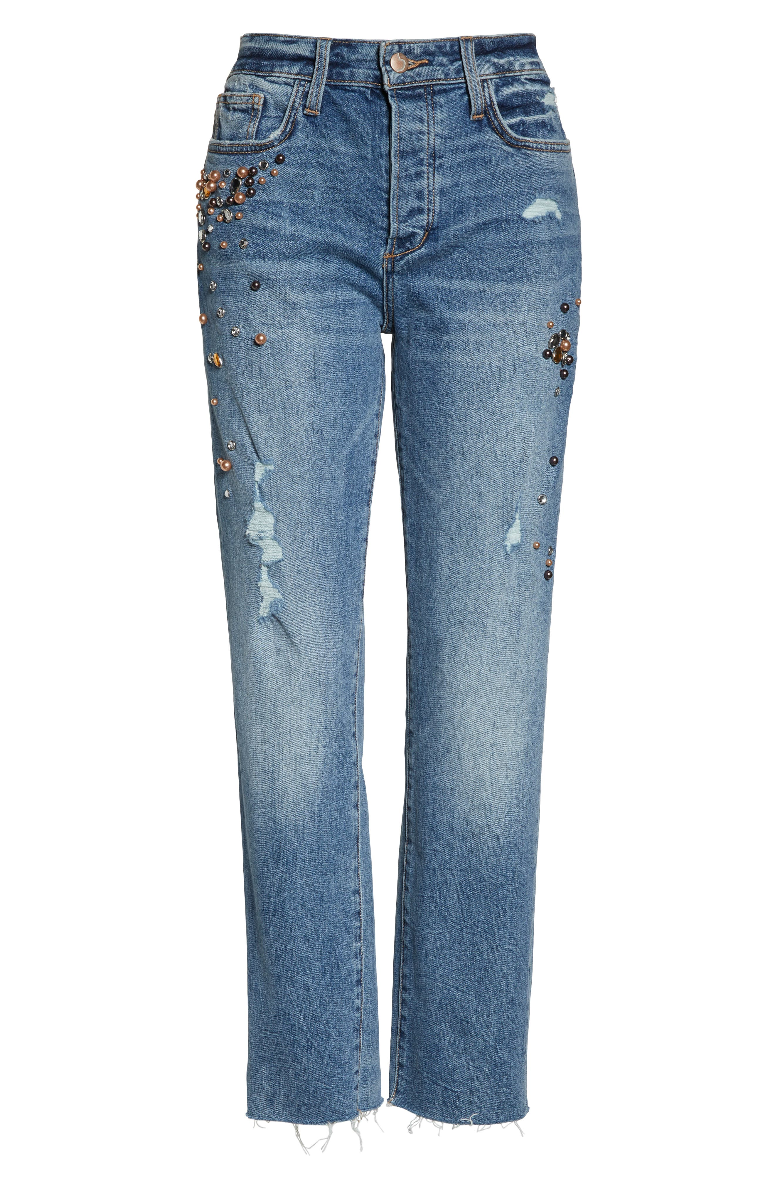 JOE'S, Smith Embellished High Waist Raw Hem Ankle Boyfriend Jeans, Alternate thumbnail 5, color, SHEYENNE