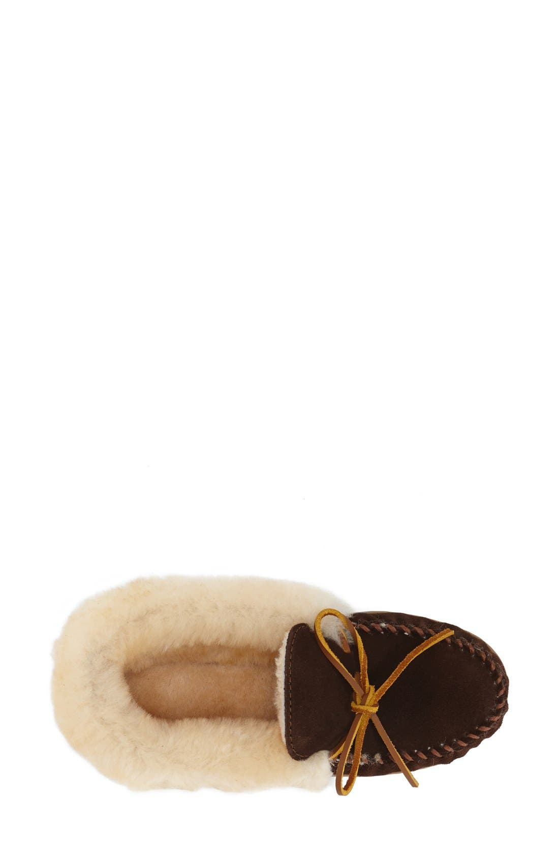 MINNETONKA, 'Alpine' Genuine Shearling Moccasin Slipper, Alternate thumbnail 3, color, CHOCOLATE SUEDE