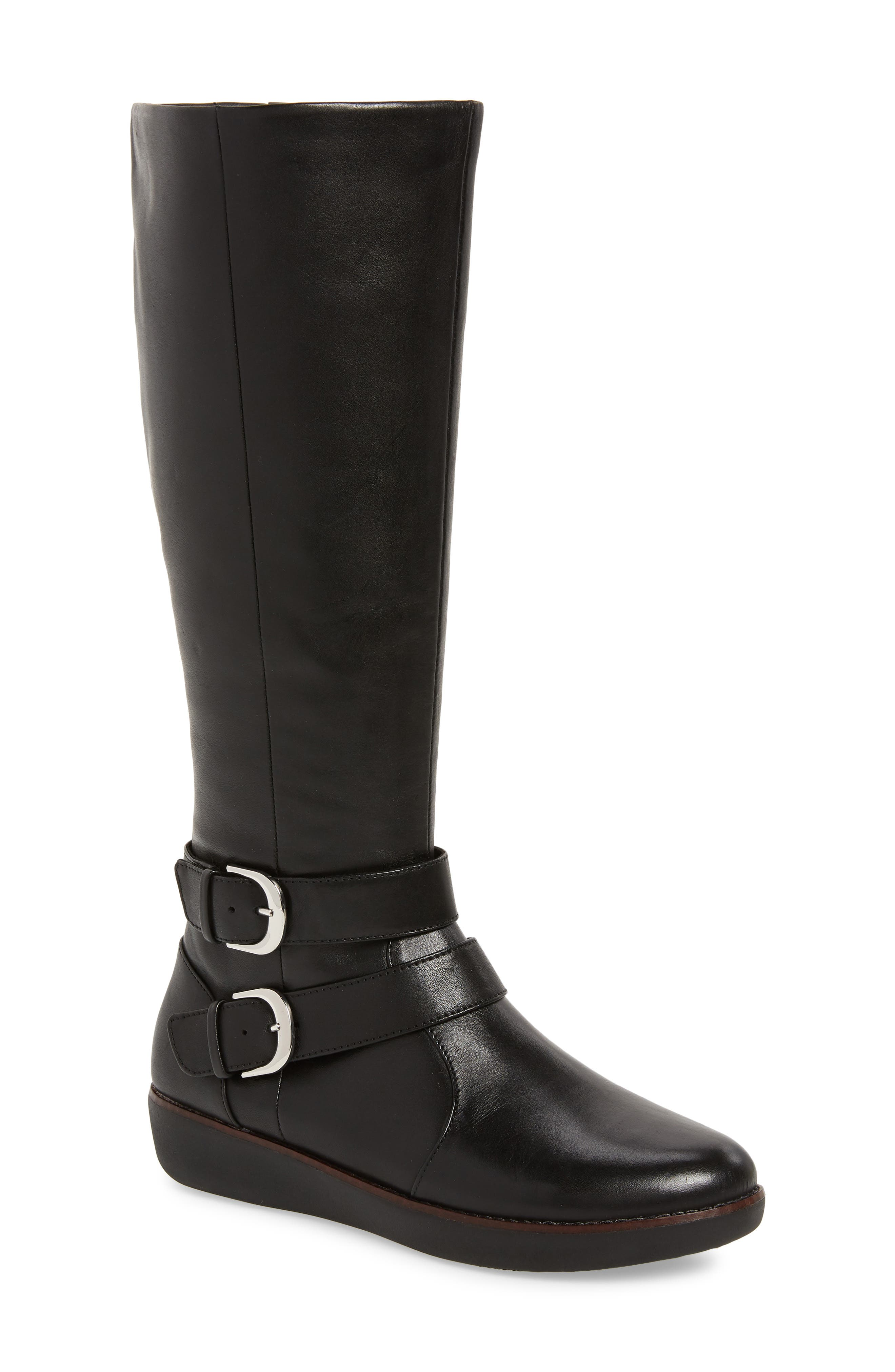 Fitflop Noemi Double Buckle Knee High Boot, Black