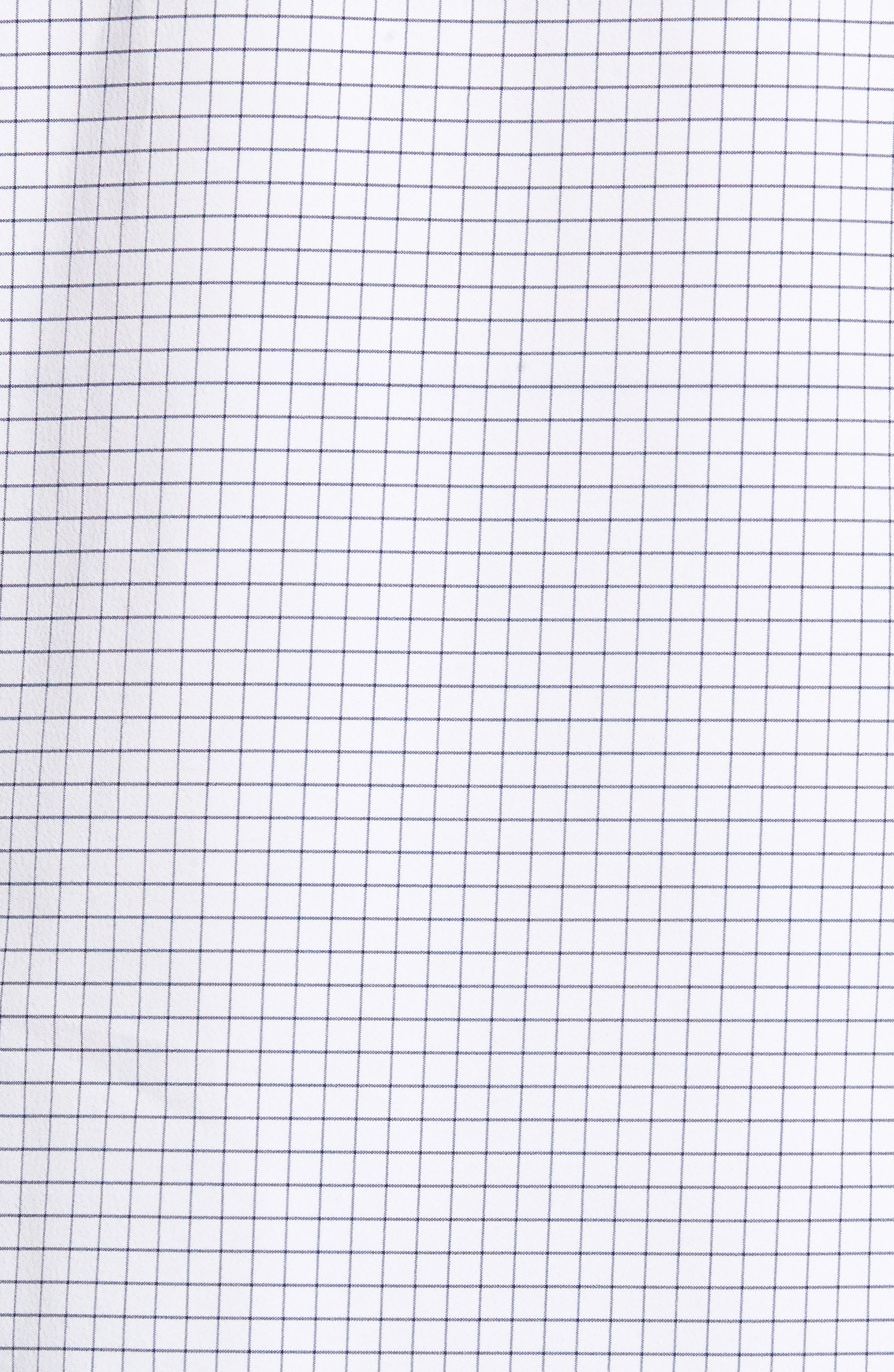 MIZZEN+MAIN, Kennedy Trim Fit Windowpane Sport Shirt, Alternate thumbnail 5, color, WHITE